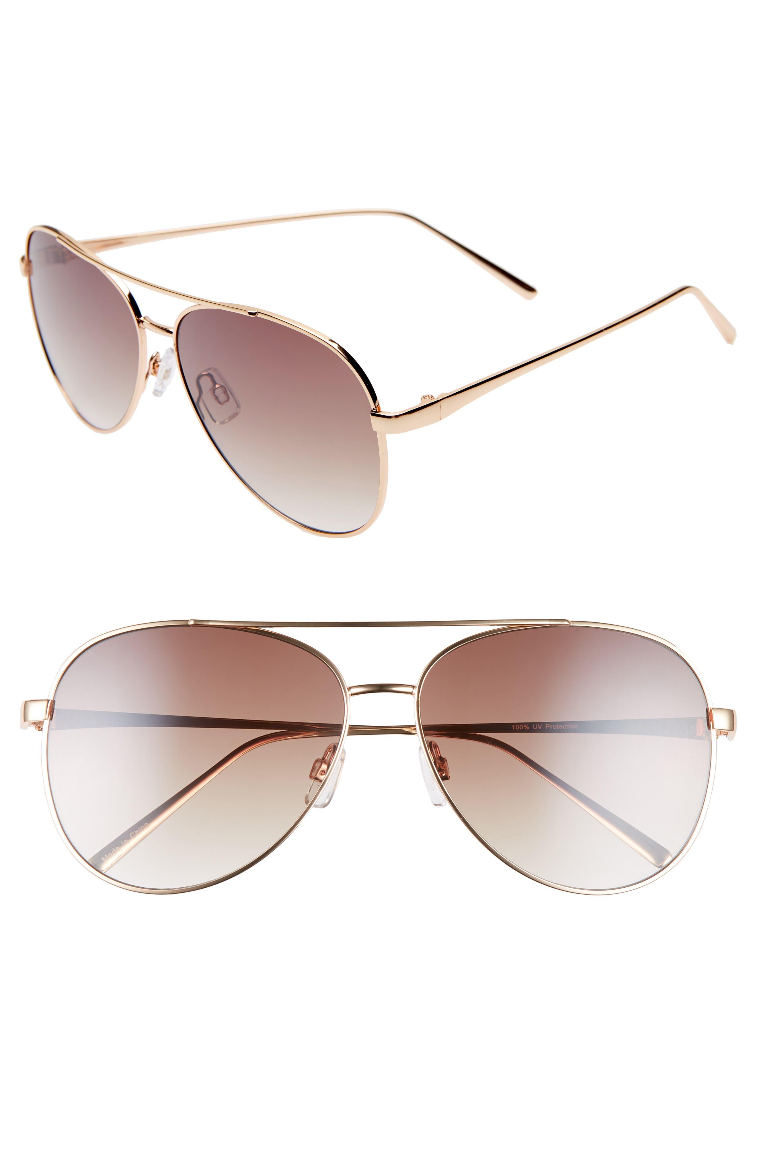 BP., 60mm Browbar Metal Aviator Sunglasses, Main thumbnail 1, color, GOLD/ BROWN