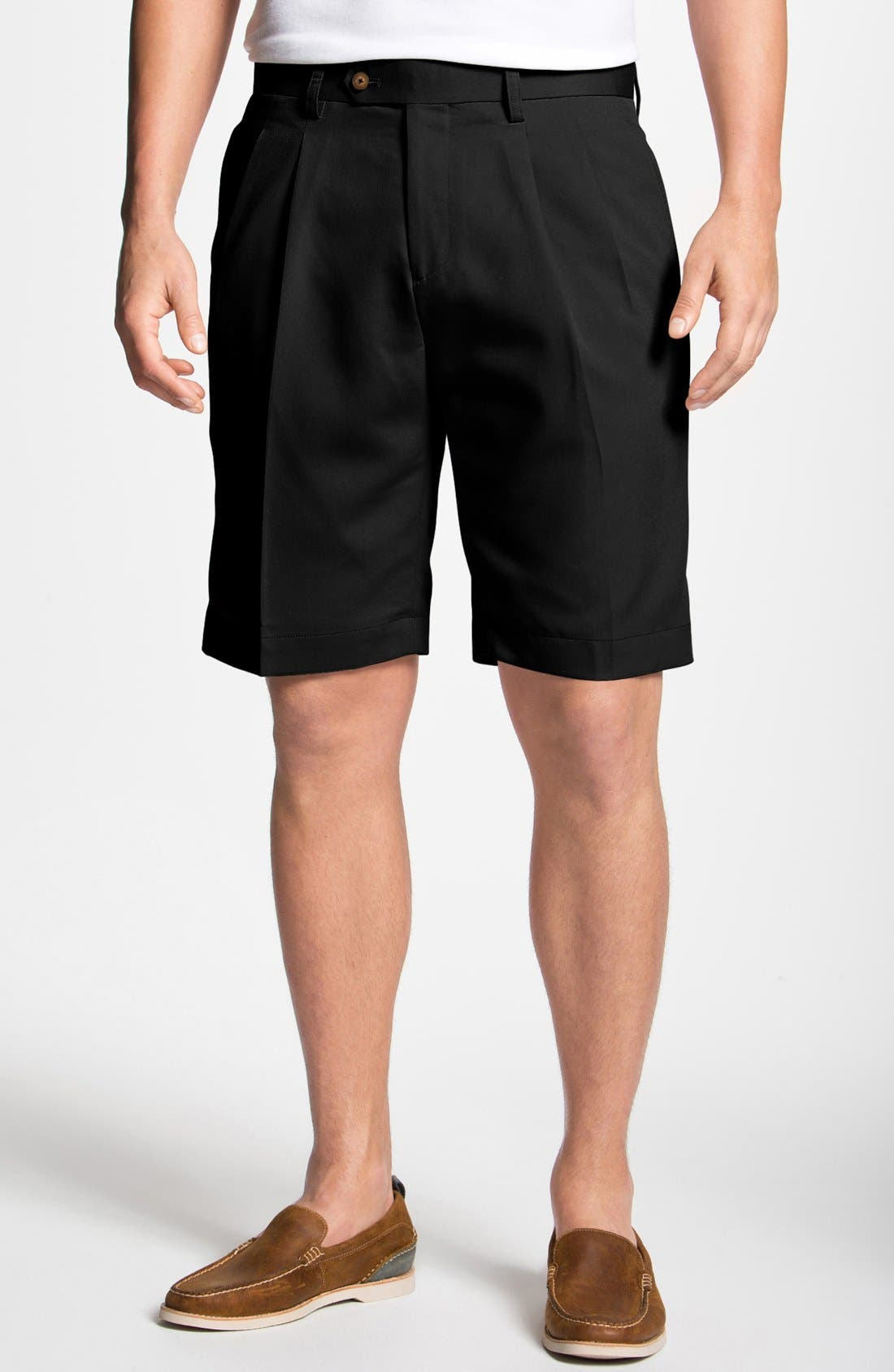 CUTTER & BUCK Double Pleated Microfiber Twill Shorts, Main, color, 001