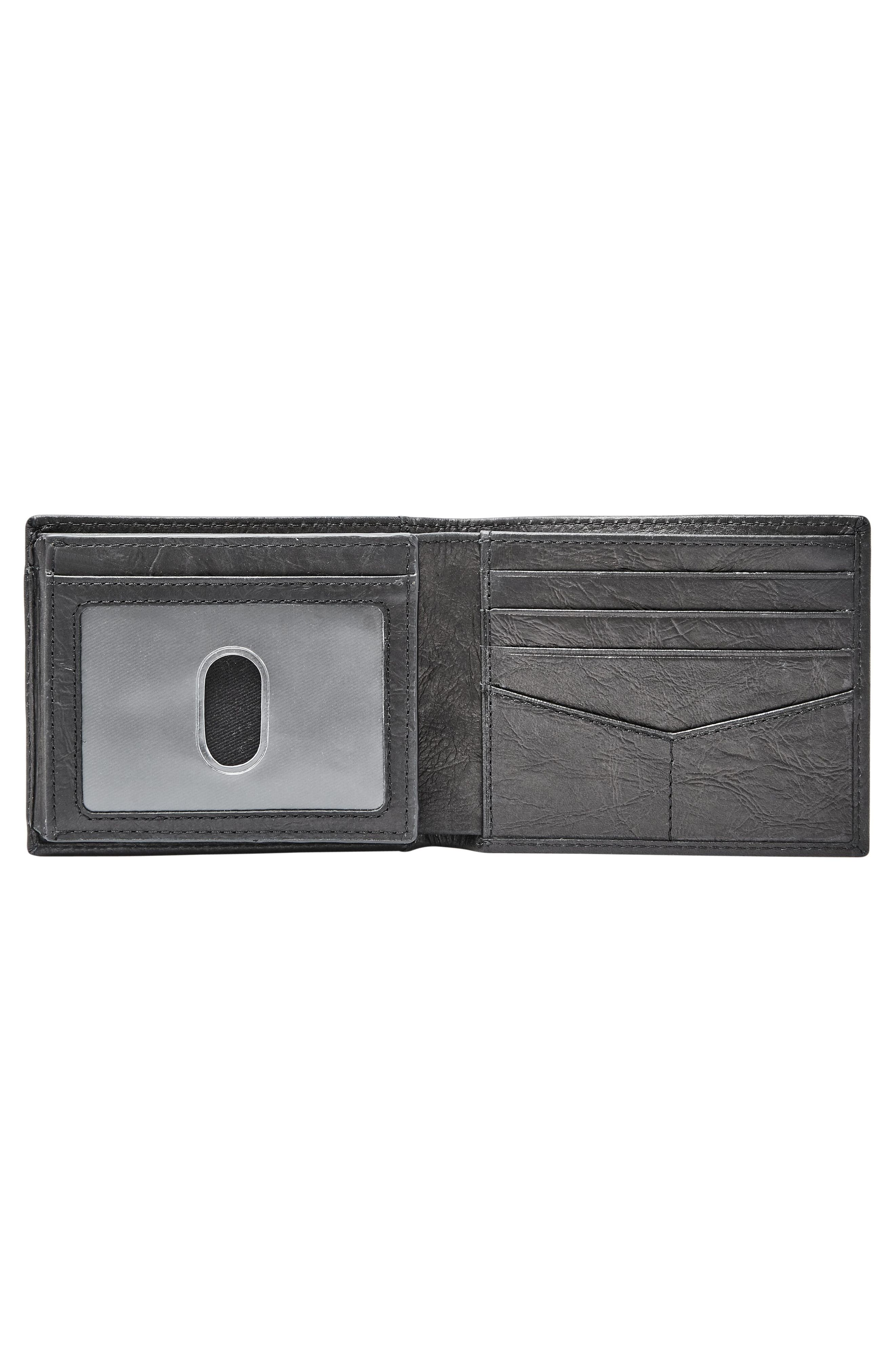 FOSSIL, Leather Wallet, Alternate thumbnail 2, color, BLACK