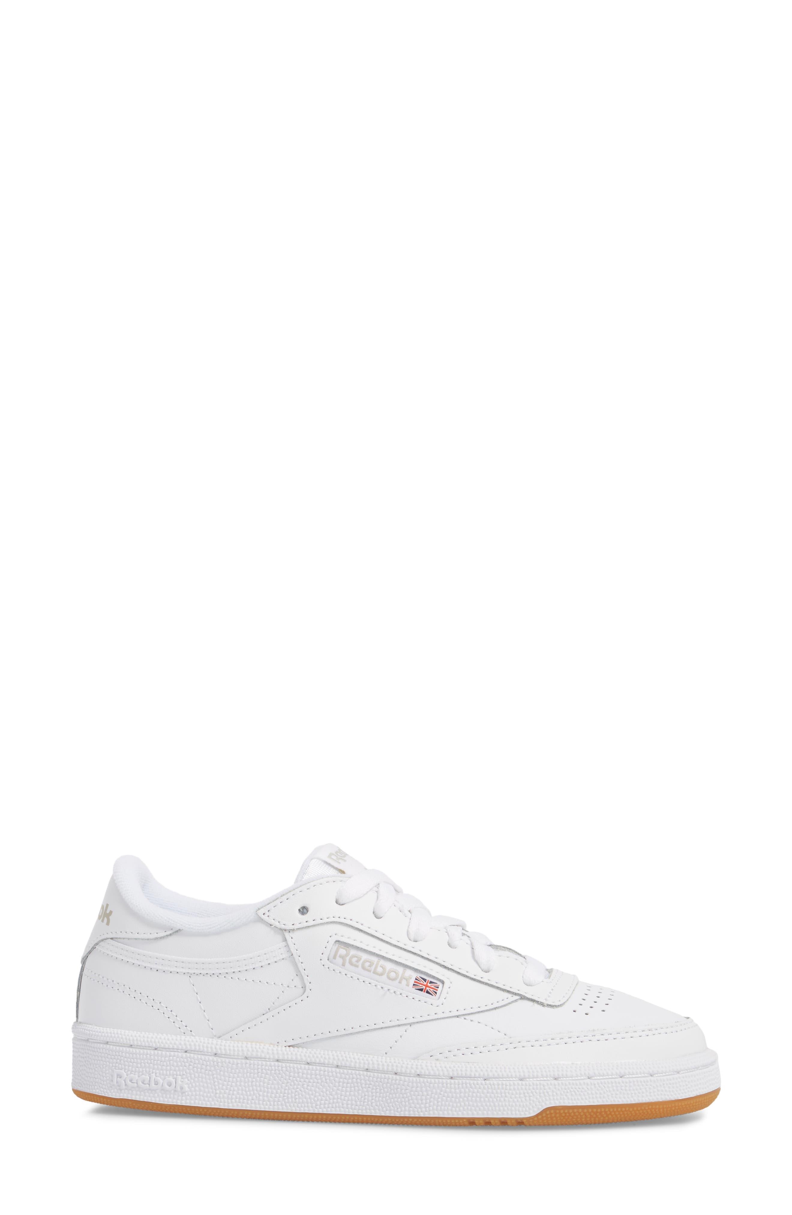 REEBOK, Club C 85 Sneaker, Alternate thumbnail 3, color, WHITE/ LIGHT GREY/ GUM