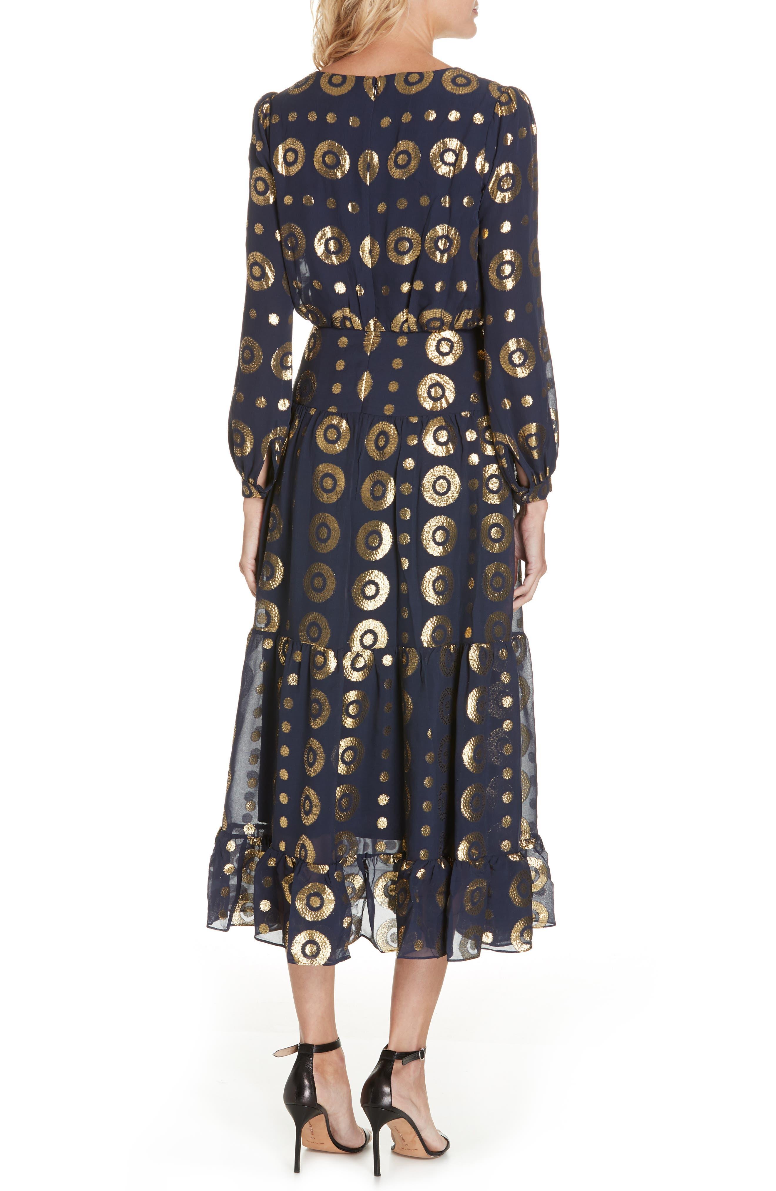 SALONI, Isabel Fil Coupé Silk Blend Midi Dress, Alternate thumbnail 2, color, 412