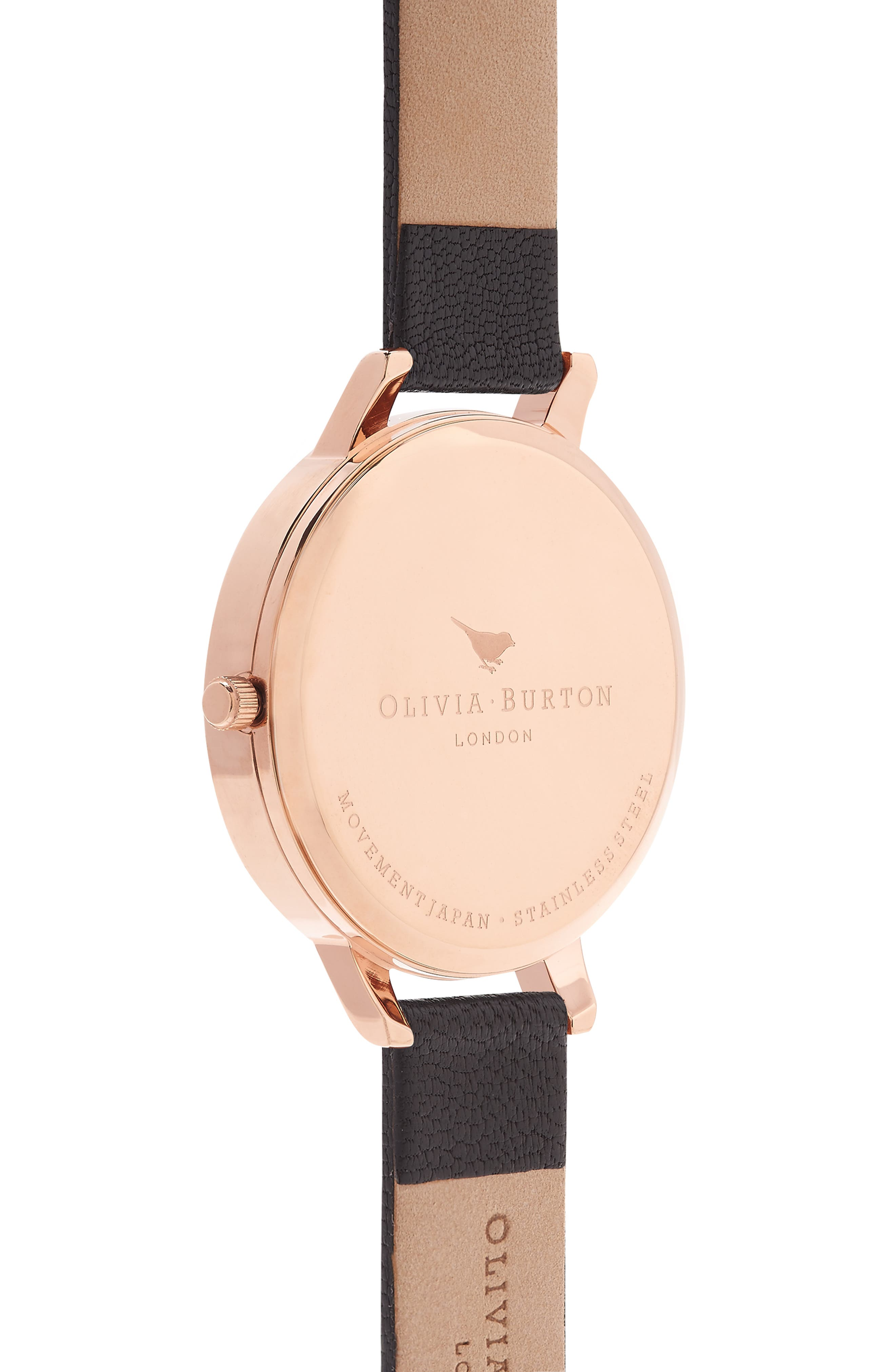 OLIVIA BURTON, Big Dial Leather Strap Watch, 38mm, Alternate thumbnail 3, color, BLACK/ BLACK/ ROSE GOLD