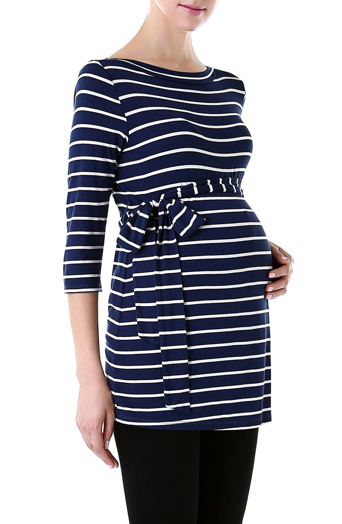 KIMI AND KAI, 'Whitney' Stripe Belted Maternity Top, Alternate thumbnail 3, color, NAVY/ IVORY