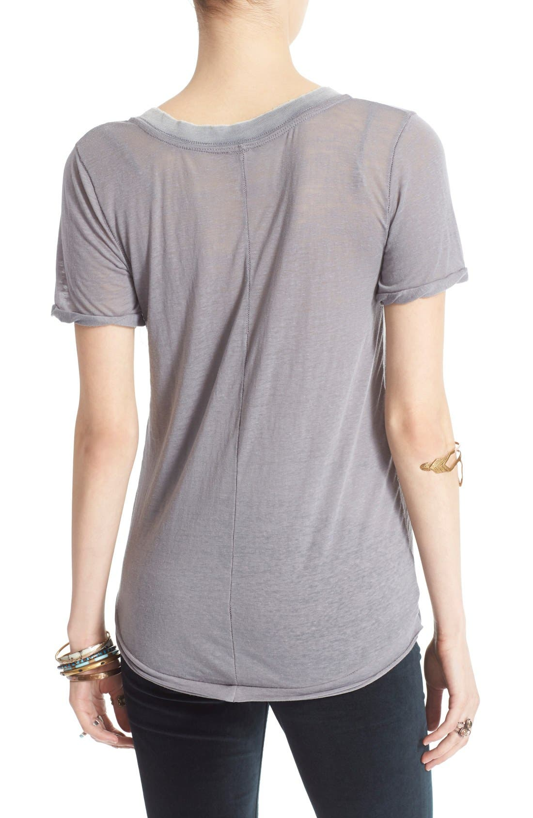FREE PEOPLE, 'Pearls' Raw Edge V-Neck Tee, Alternate thumbnail 3, color, 030