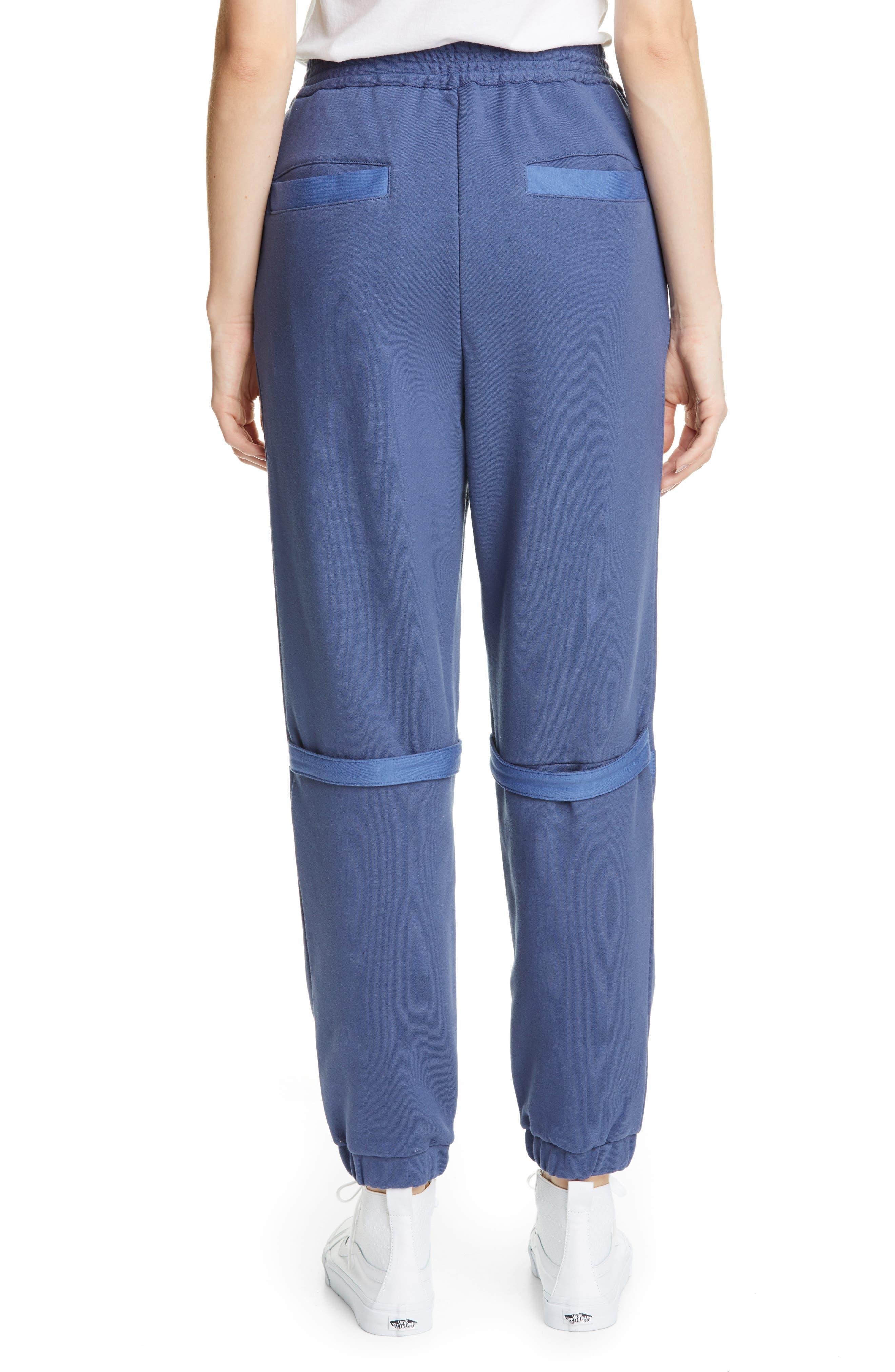 AMBUSH, Slit Knee Sweatpants, Alternate thumbnail 2, color, BLUE