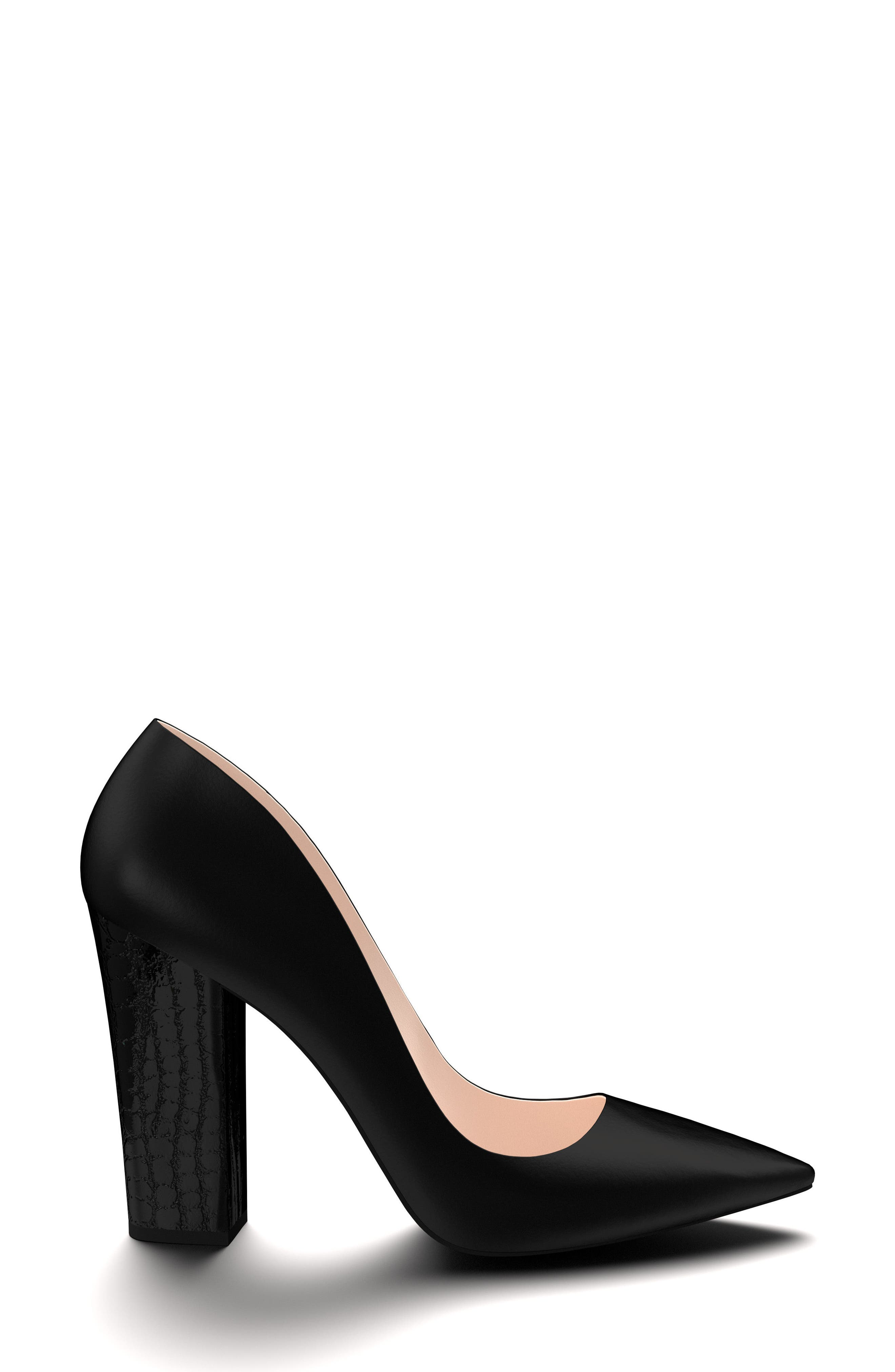 SHOES OF PREY, Pointy Toe Pump, Alternate thumbnail 3, color, 001