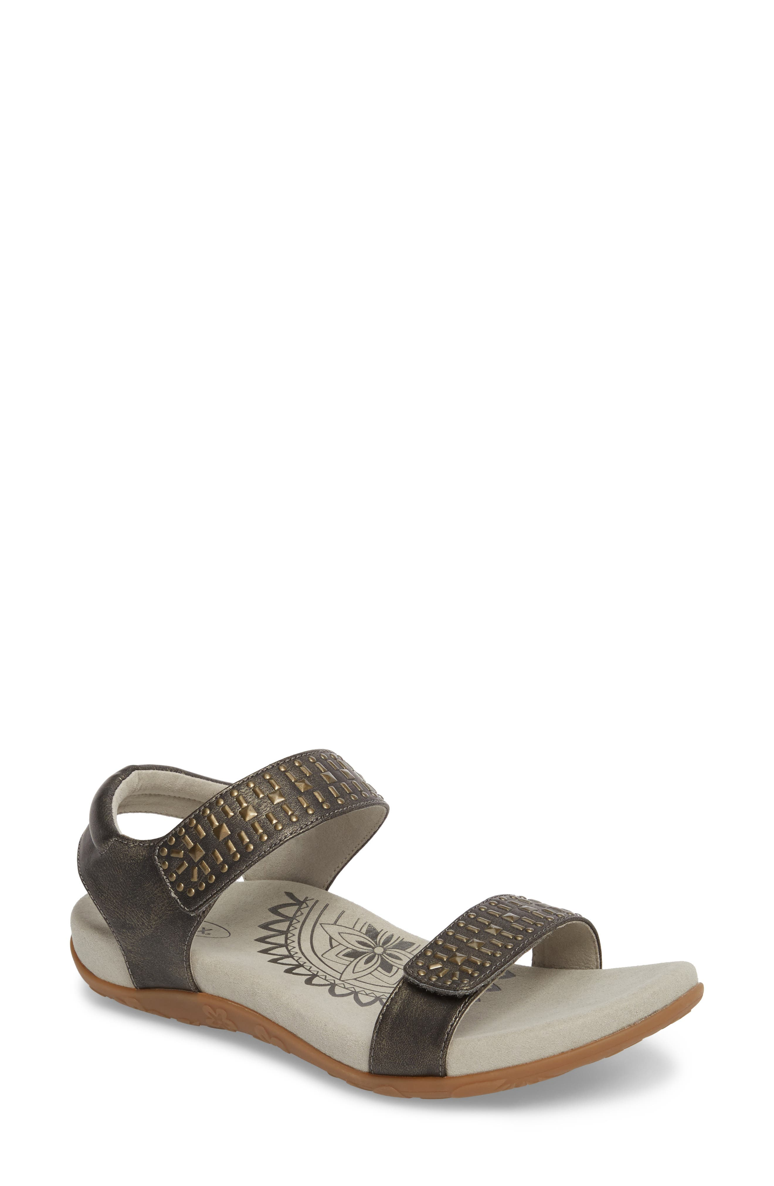 AETREX 'Maria' Sandal, Main, color, PEWTER LEATHER