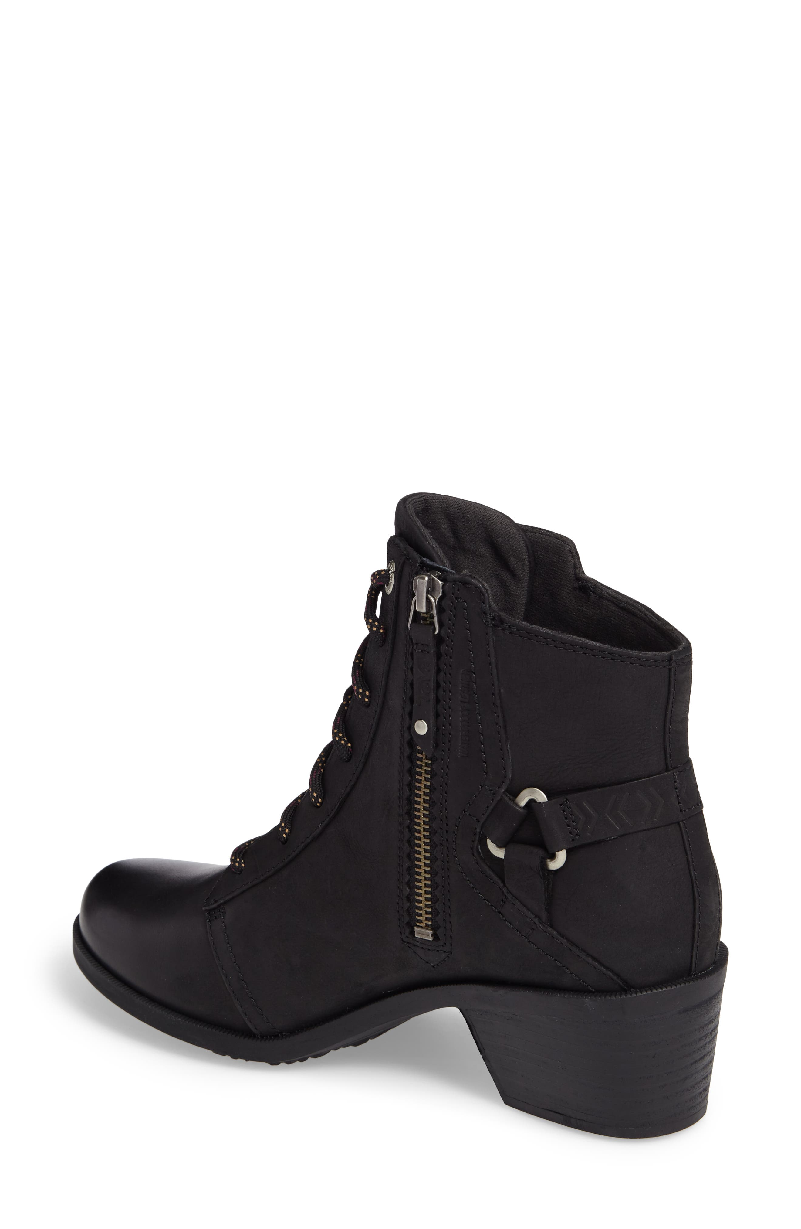 TEVA, Foxy Lace-Up Waterproof Boot, Alternate thumbnail 2, color, BLACK LEATHER
