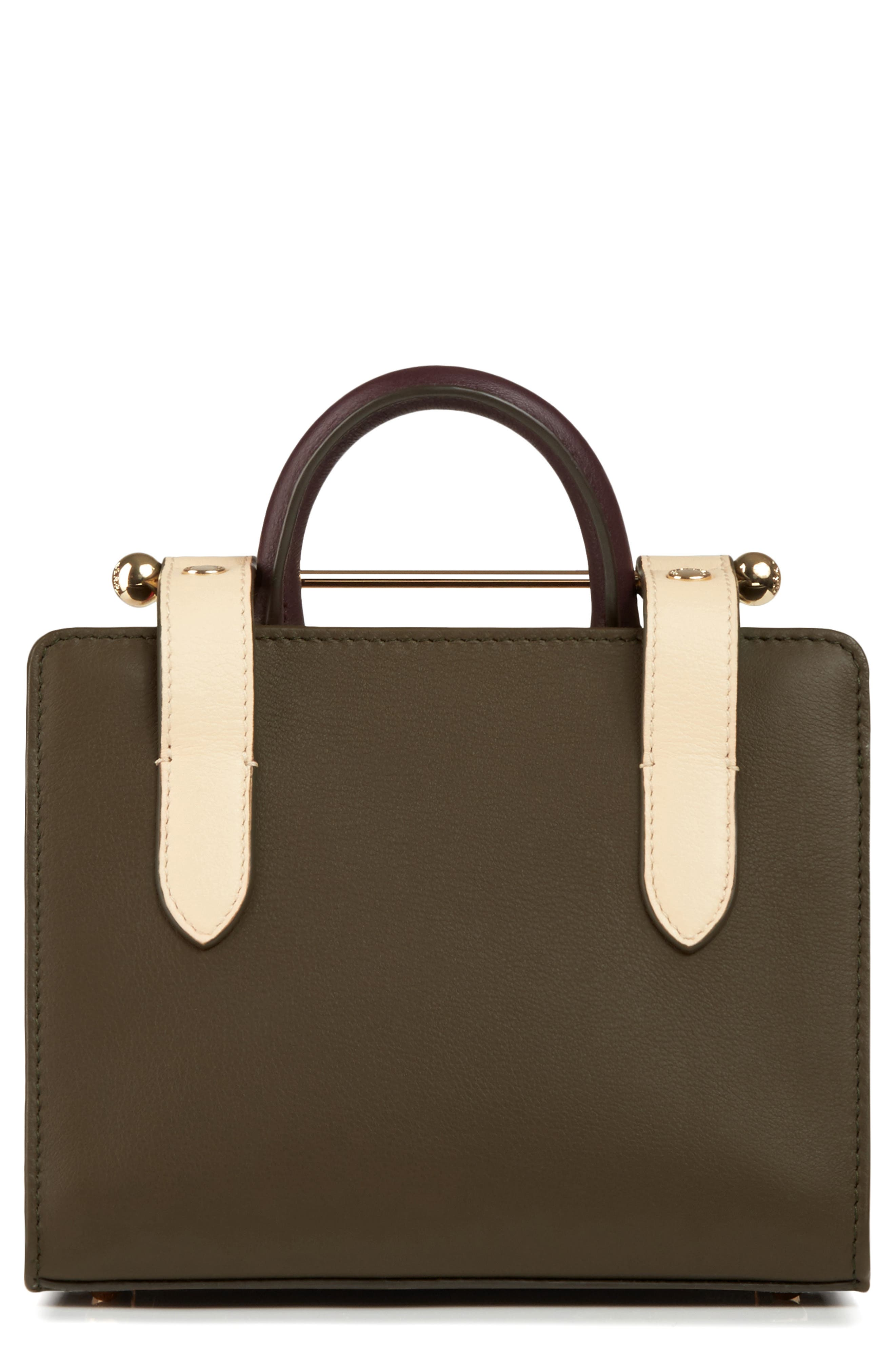 STRATHBERRY, Nano Tricolor Leather Satchel, Alternate thumbnail 2, color, FOREST/ SAND/ BURGUNDY