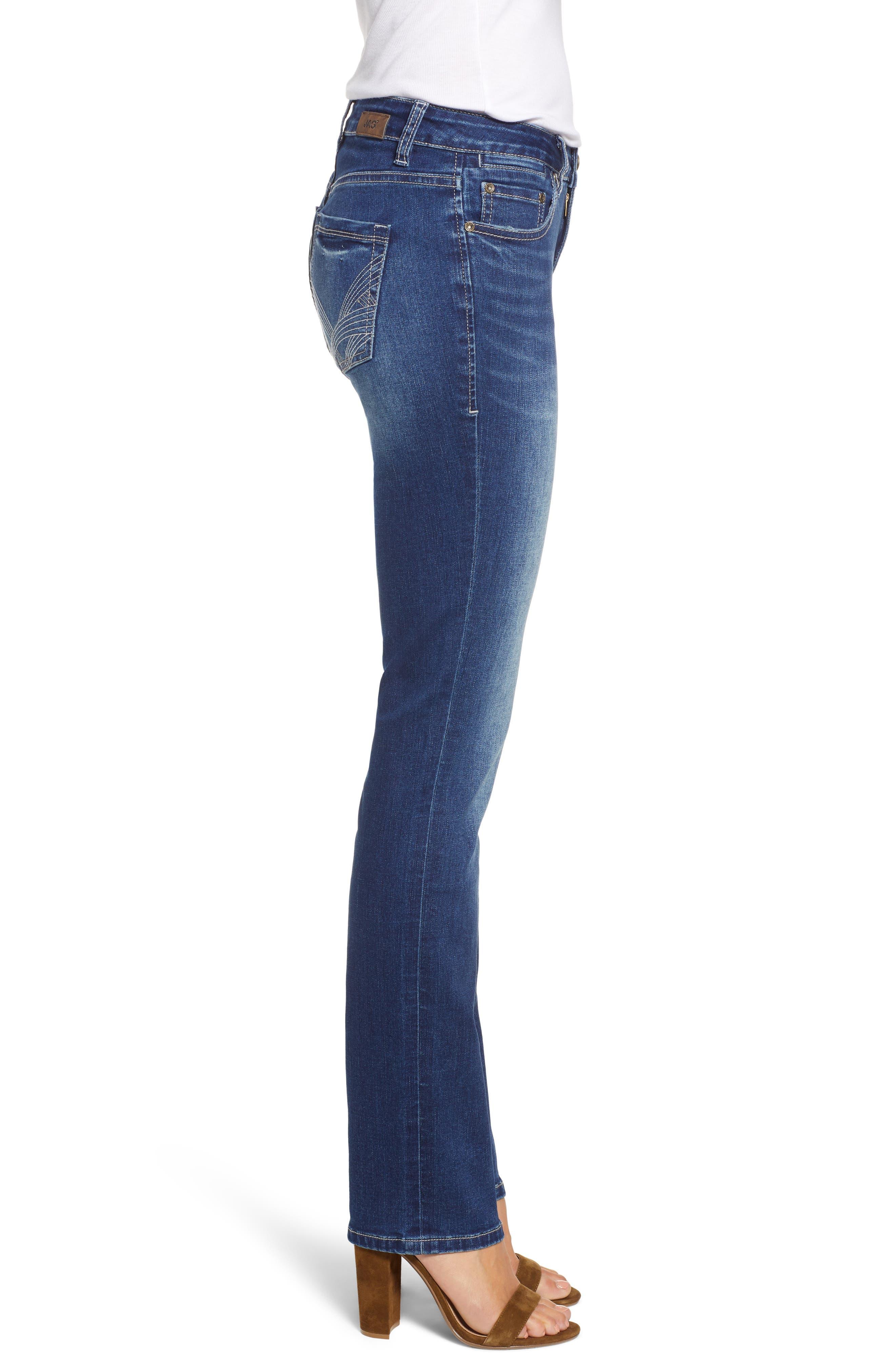 JAG JEANS, Hanna Stretch Straight Leg Jeans, Alternate thumbnail 4, color, MED INDIGO