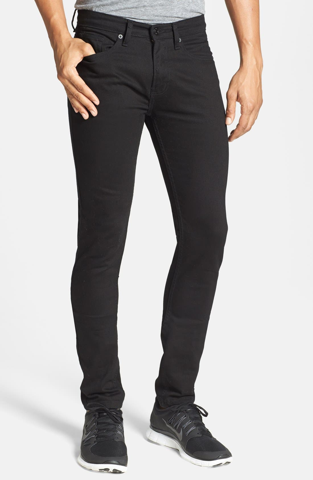TOPMAN, Stretch Skinny Fit Jeans, Main thumbnail 1, color, 001