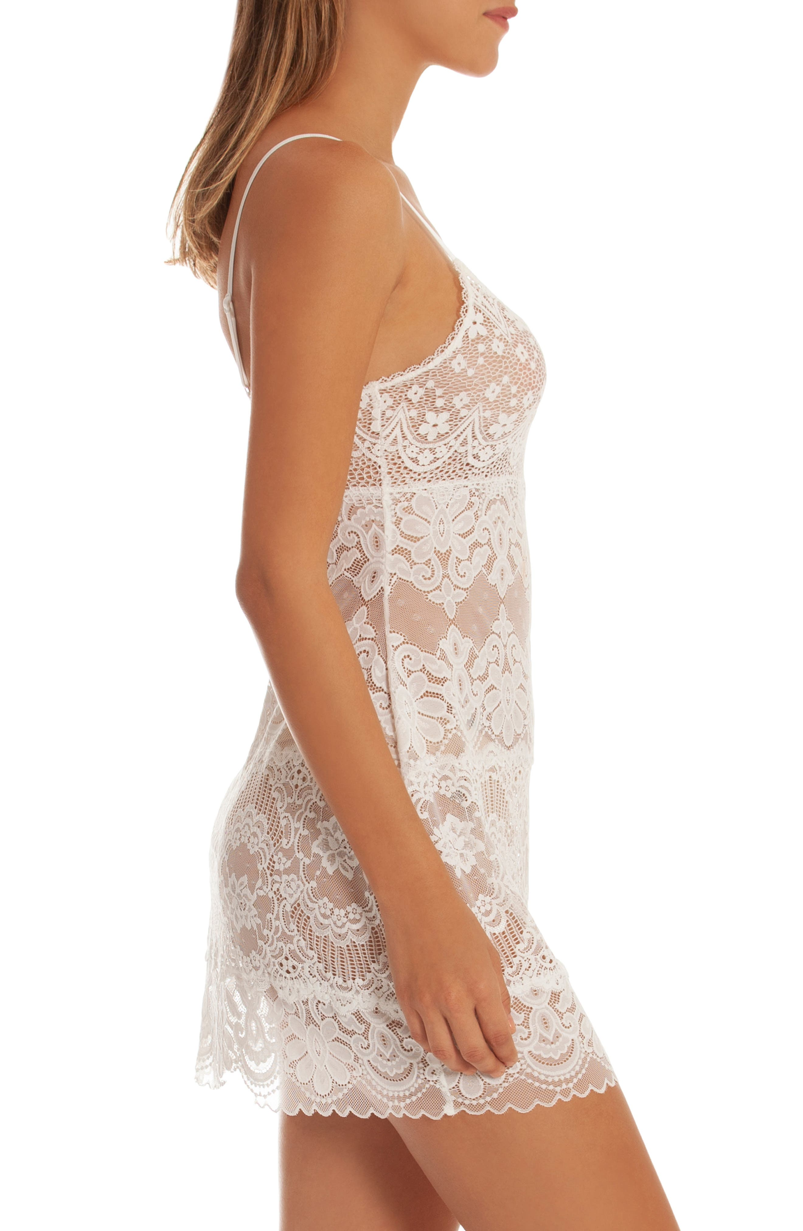 IN BLOOM BY JONQUIL, Lace Chemise, Alternate thumbnail 3, color, IVORY