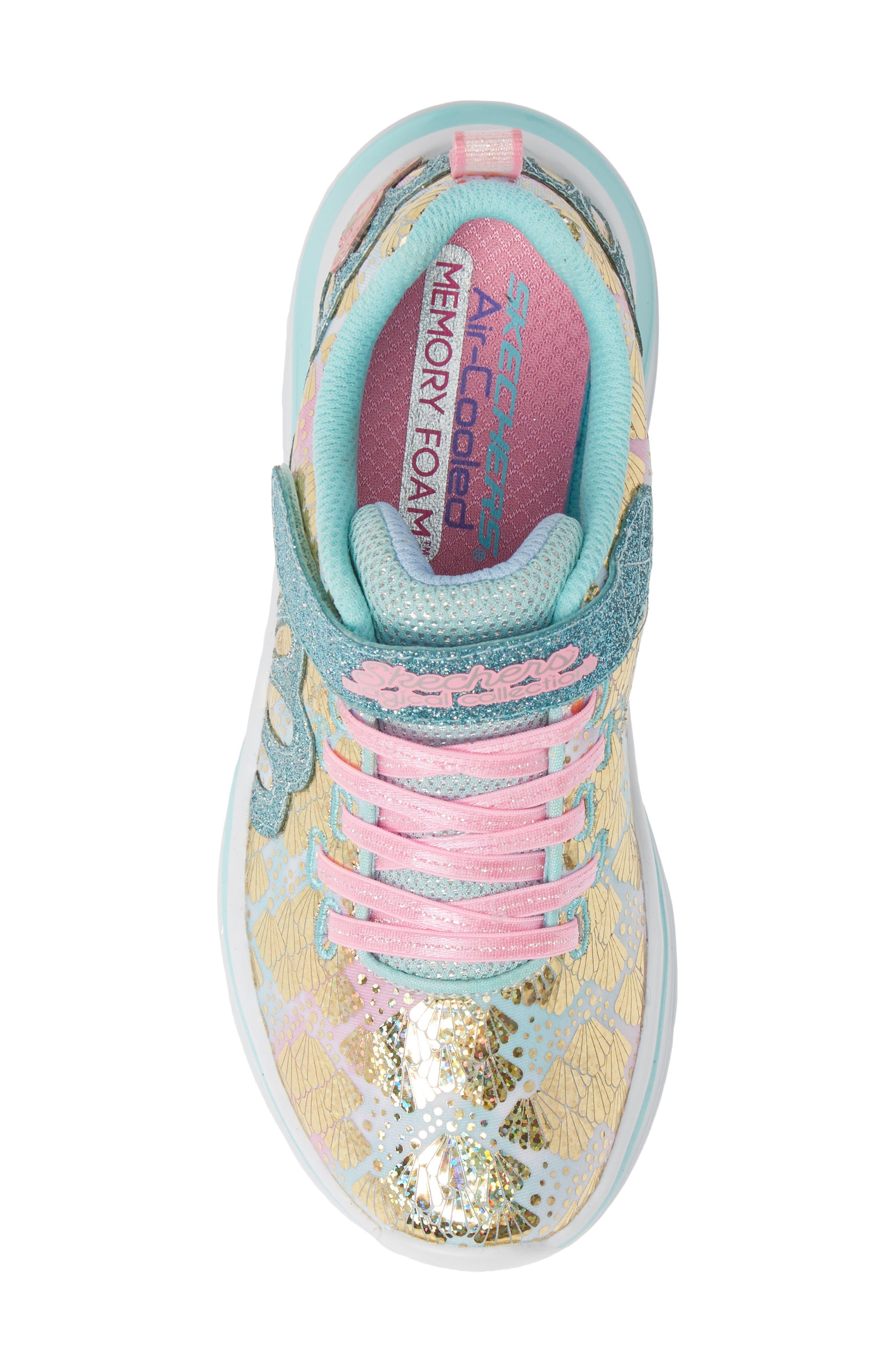 SKECHERS, Double Dreams Shimmer Sneaker, Alternate thumbnail 5, color, AQUA/ PINK TEXTILE