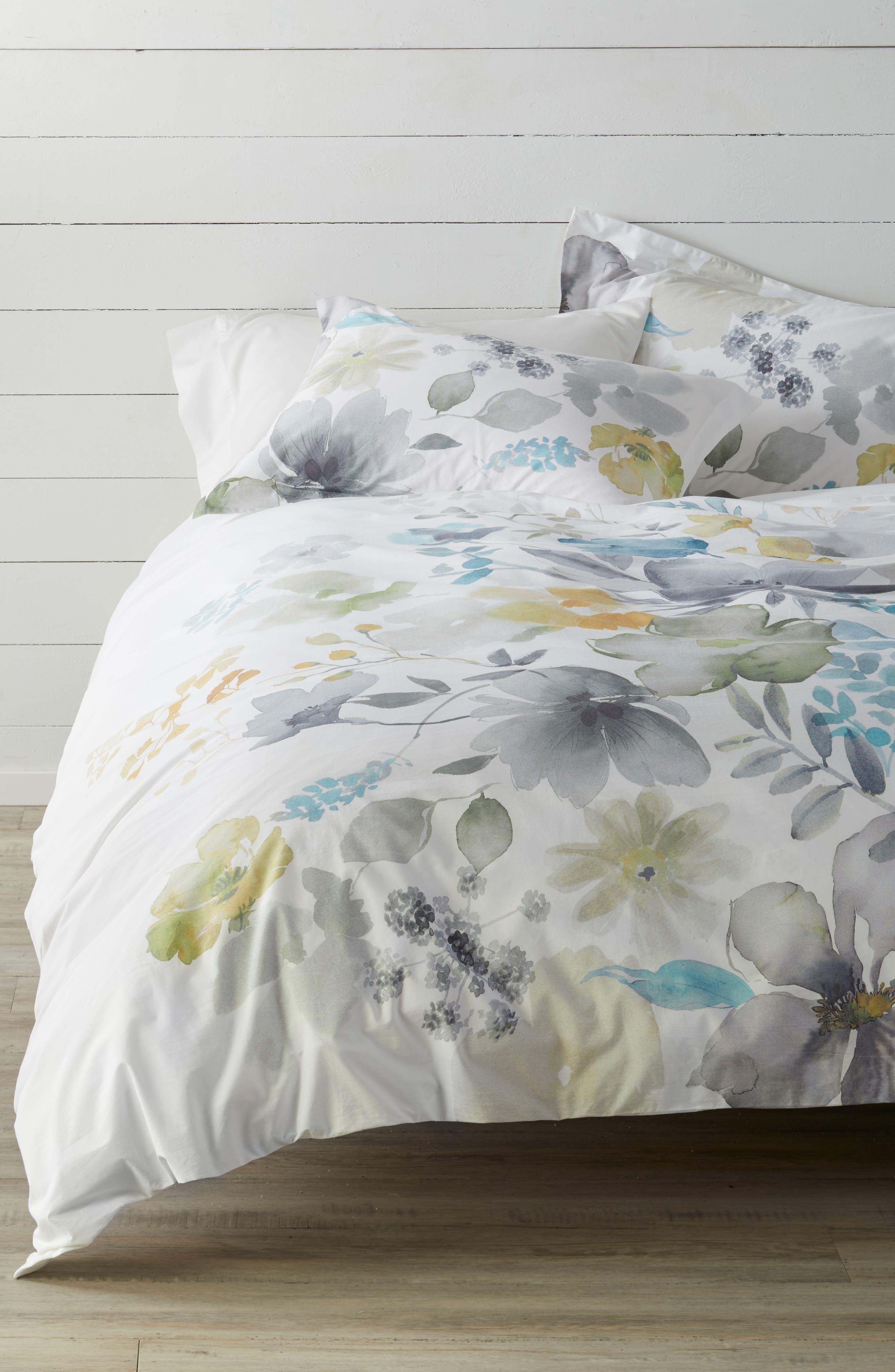 LEVTEX Fairbourne 300 Thread Count Cotton Percale Duvet Cover, Main, color, MULTI