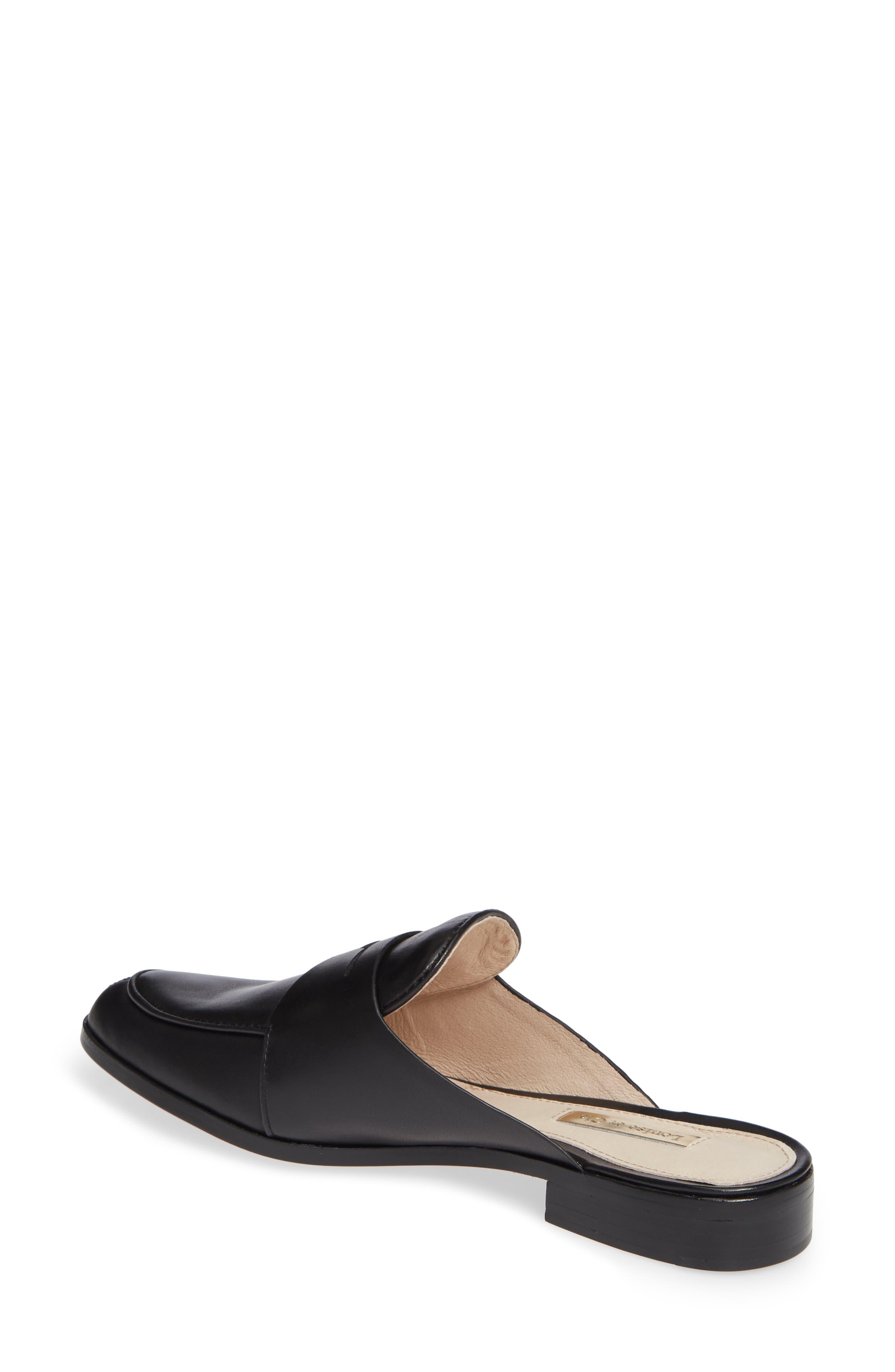LOUISE ET CIE, Dugan Flat Loafer Mule, Alternate thumbnail 2, color, BLACK/BLACK LEATHER