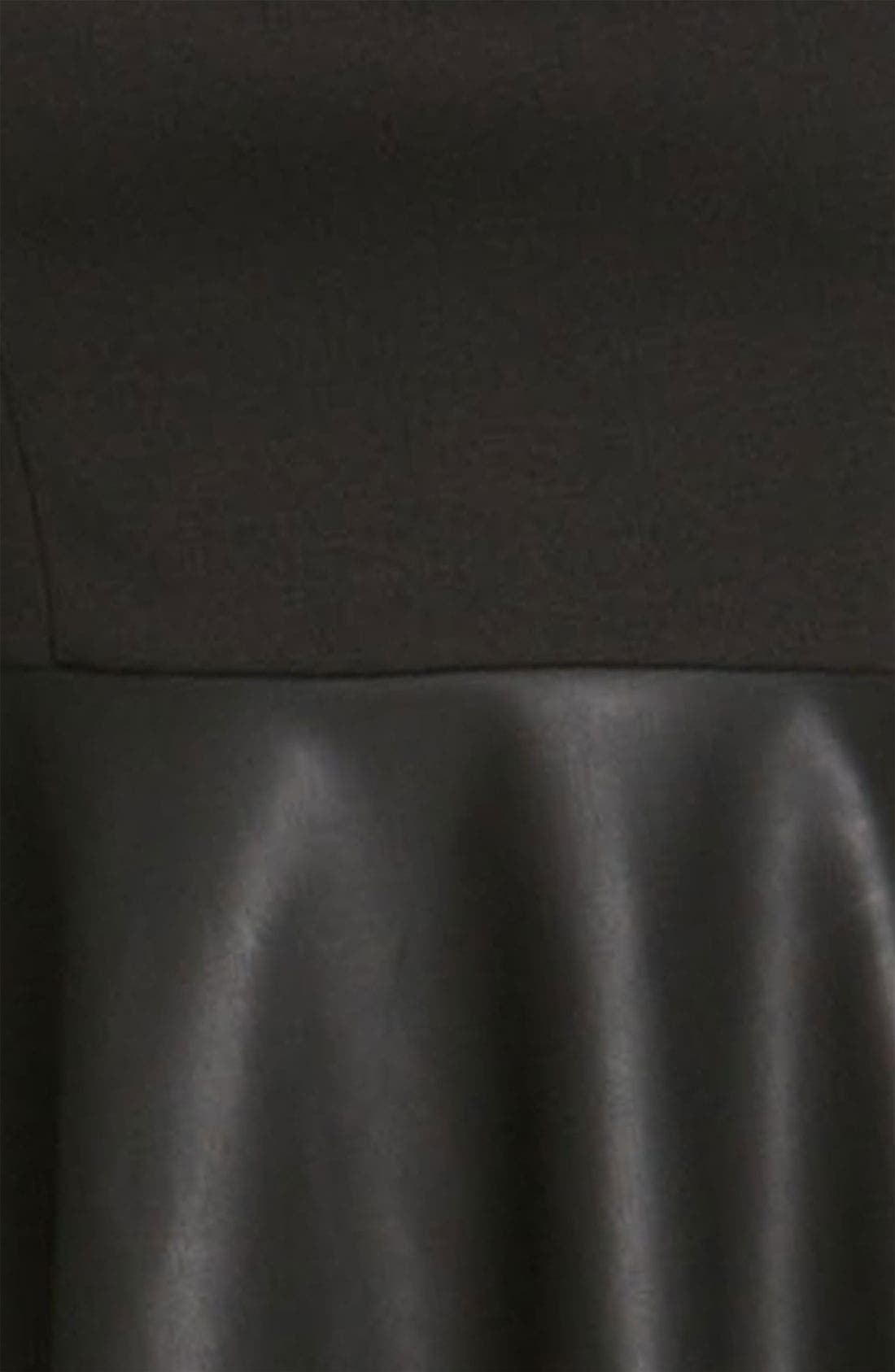 LILY WHITE, Faux Leather Peplum Tank, Alternate thumbnail 3, color, 001