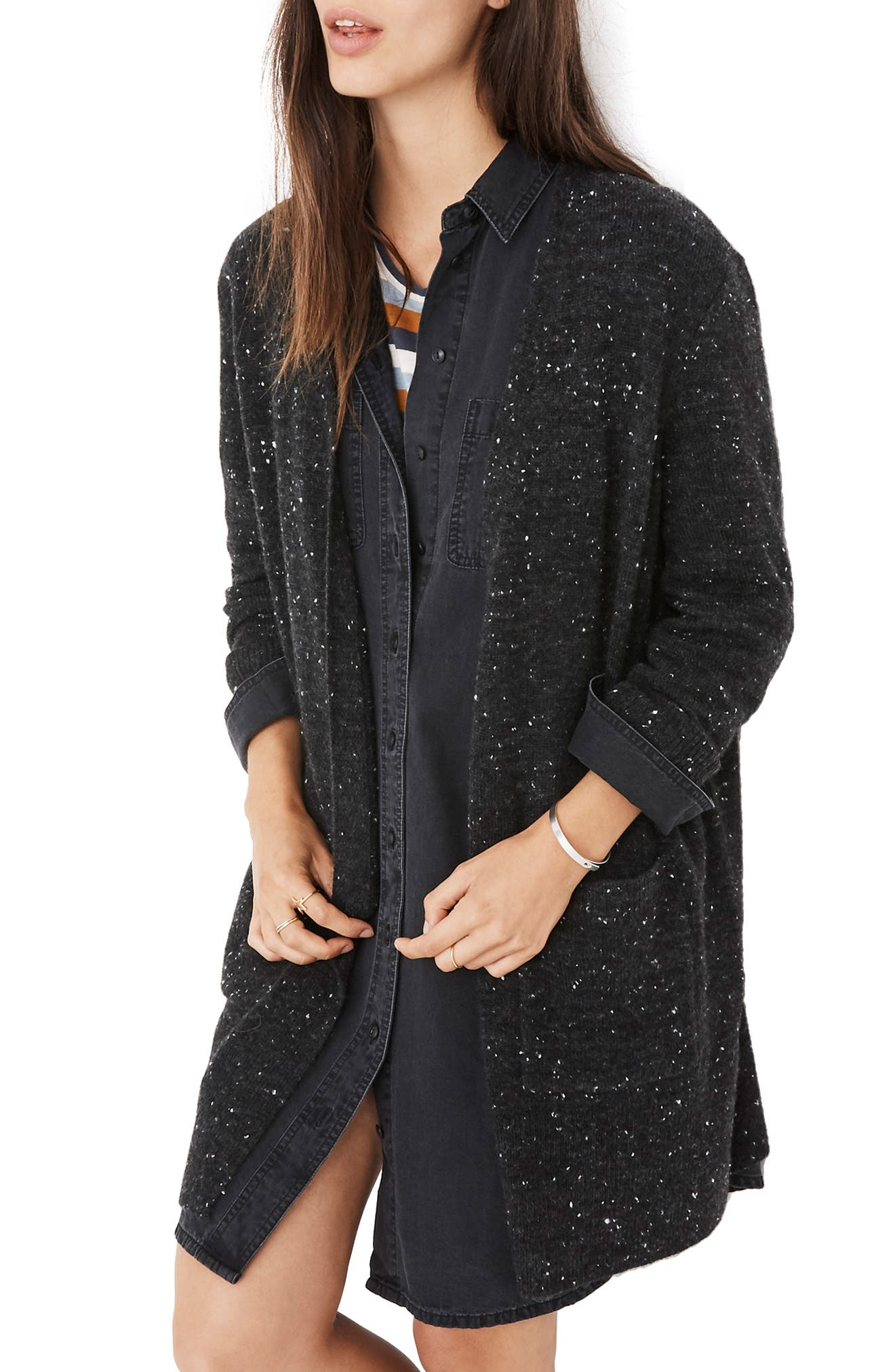 MADEWELL, Donegal Kent Cardigan Sweater, Alternate thumbnail 3, color, DONEGAL STORM GRAY