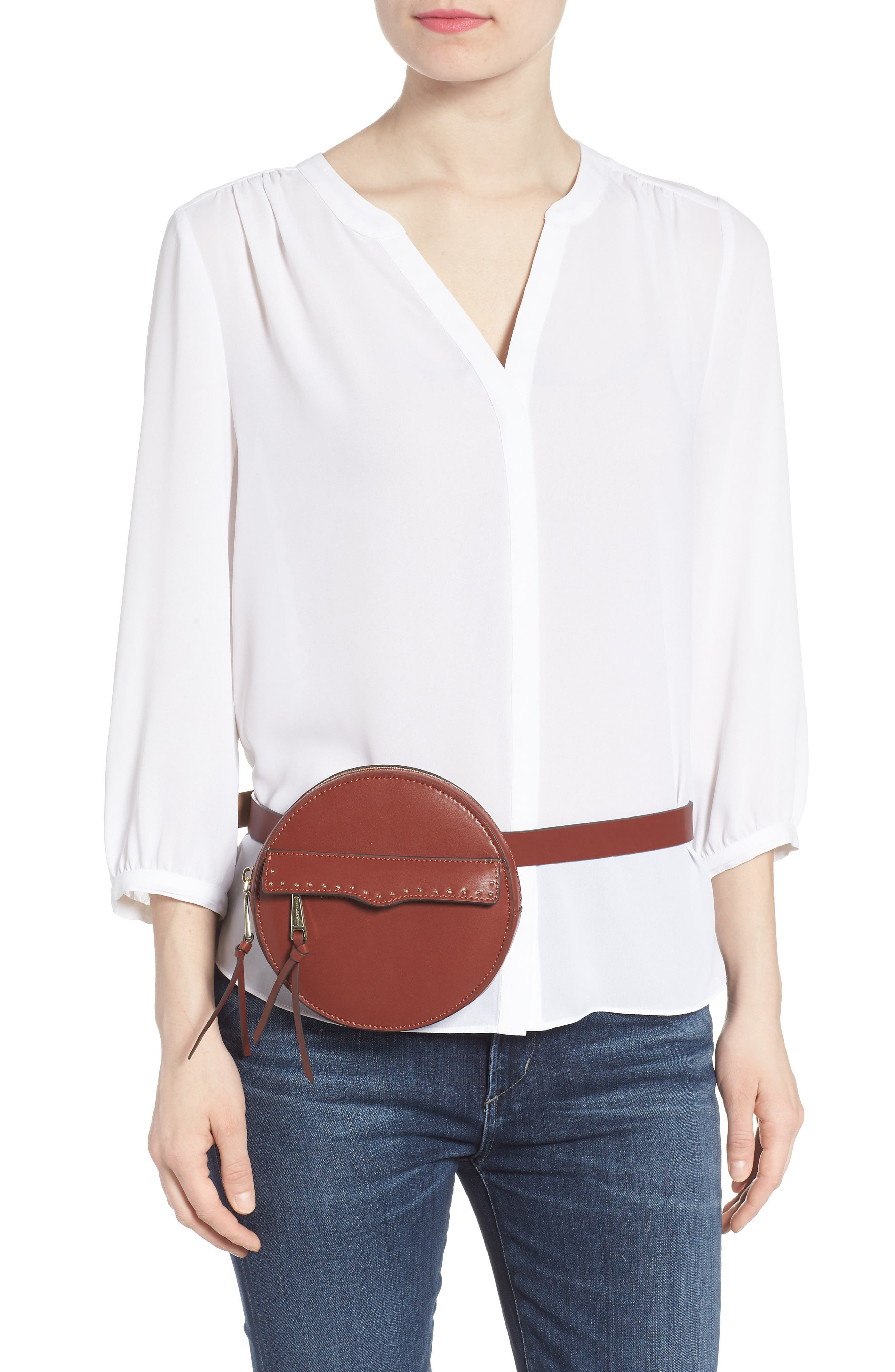 REBECCA MINKOFF, Lucy Leather Belt Bag, Alternate thumbnail 2, color, LUGGAGE