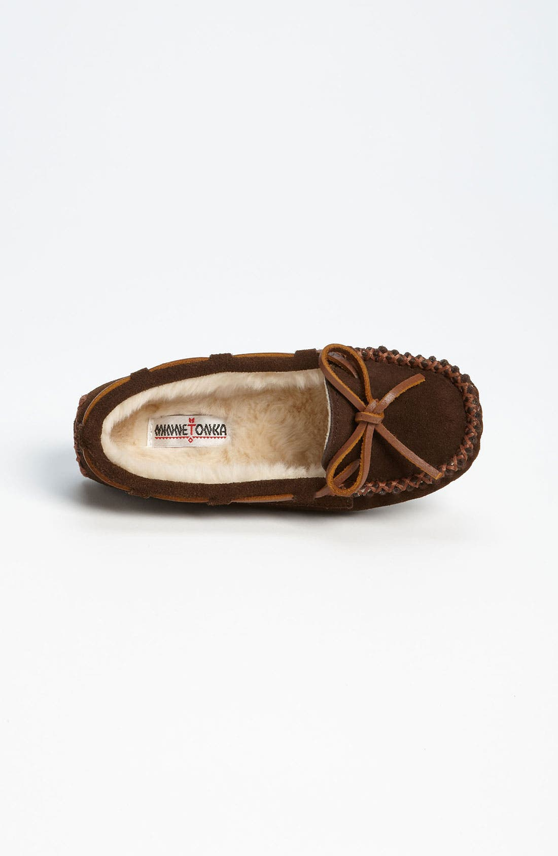 MINNETONKA, 'Cassie' Slipper, Alternate thumbnail 3, color, CHOCOLATE