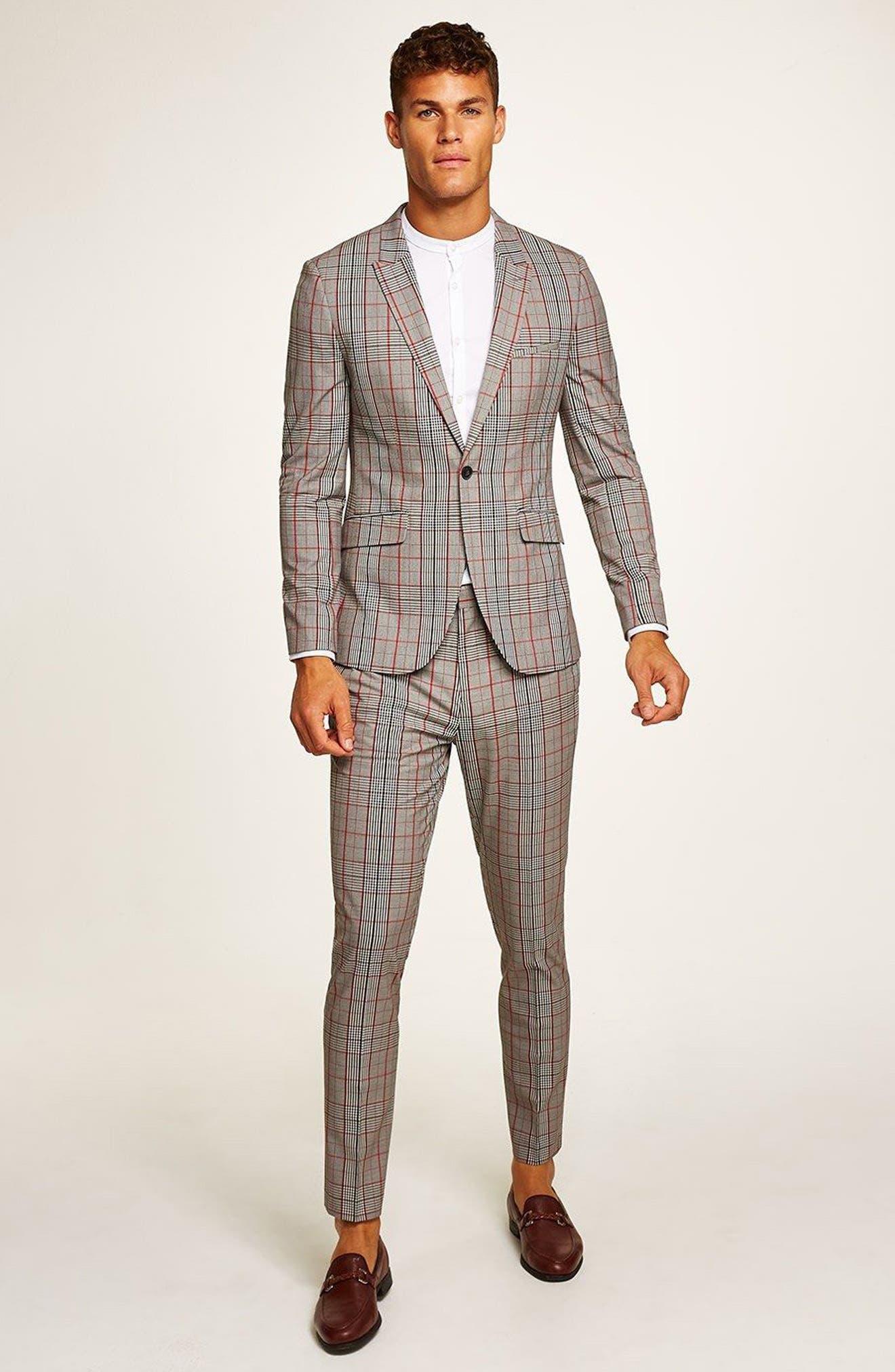 TOPMAN, Muscle Fit Check Suit Jacket, Alternate thumbnail 5, color, 020