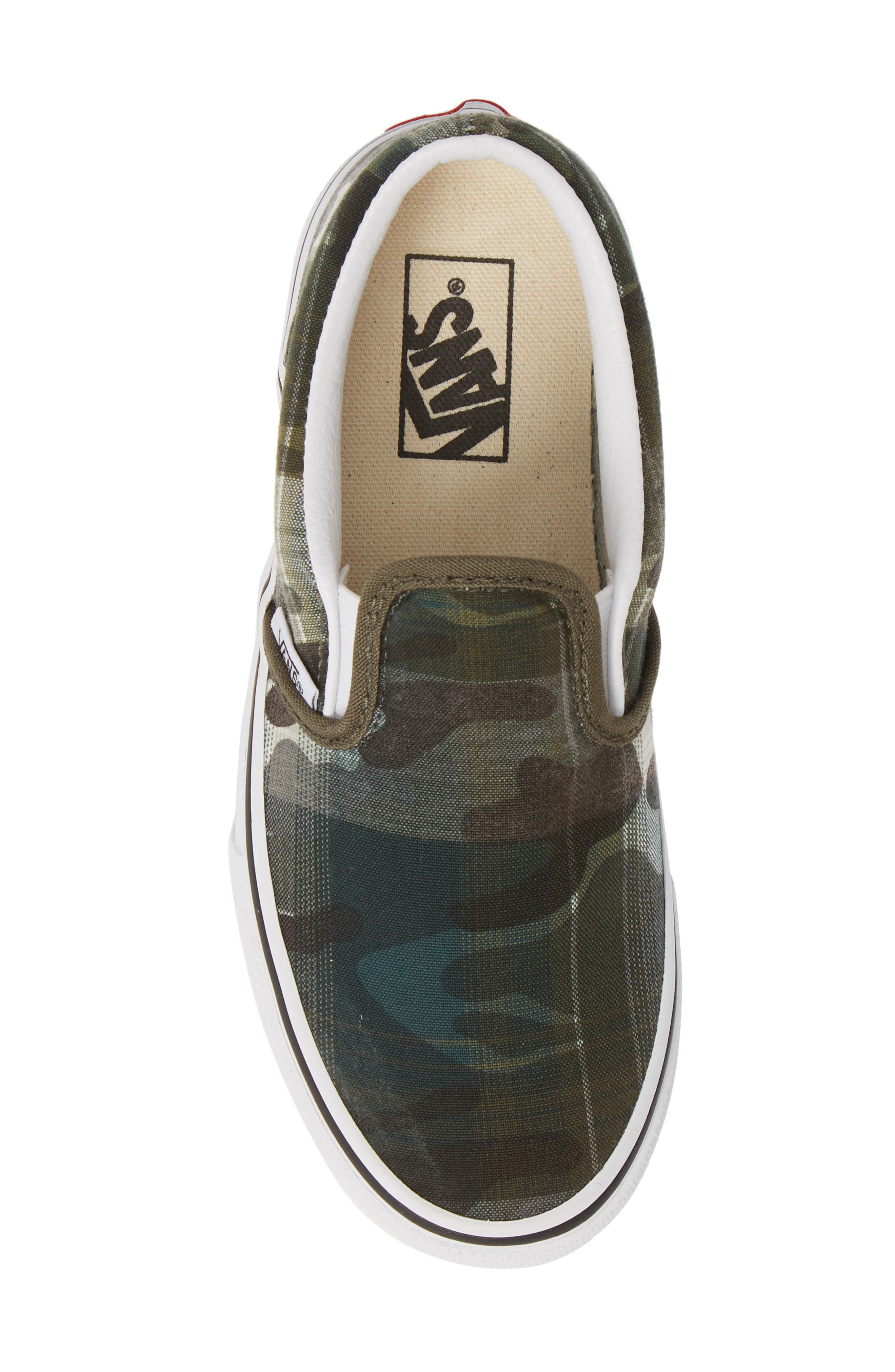VANS, 'Classic' Slip-On, Alternate thumbnail 5, color, PLAID CAMO GRAPE LEAF/ WHITE