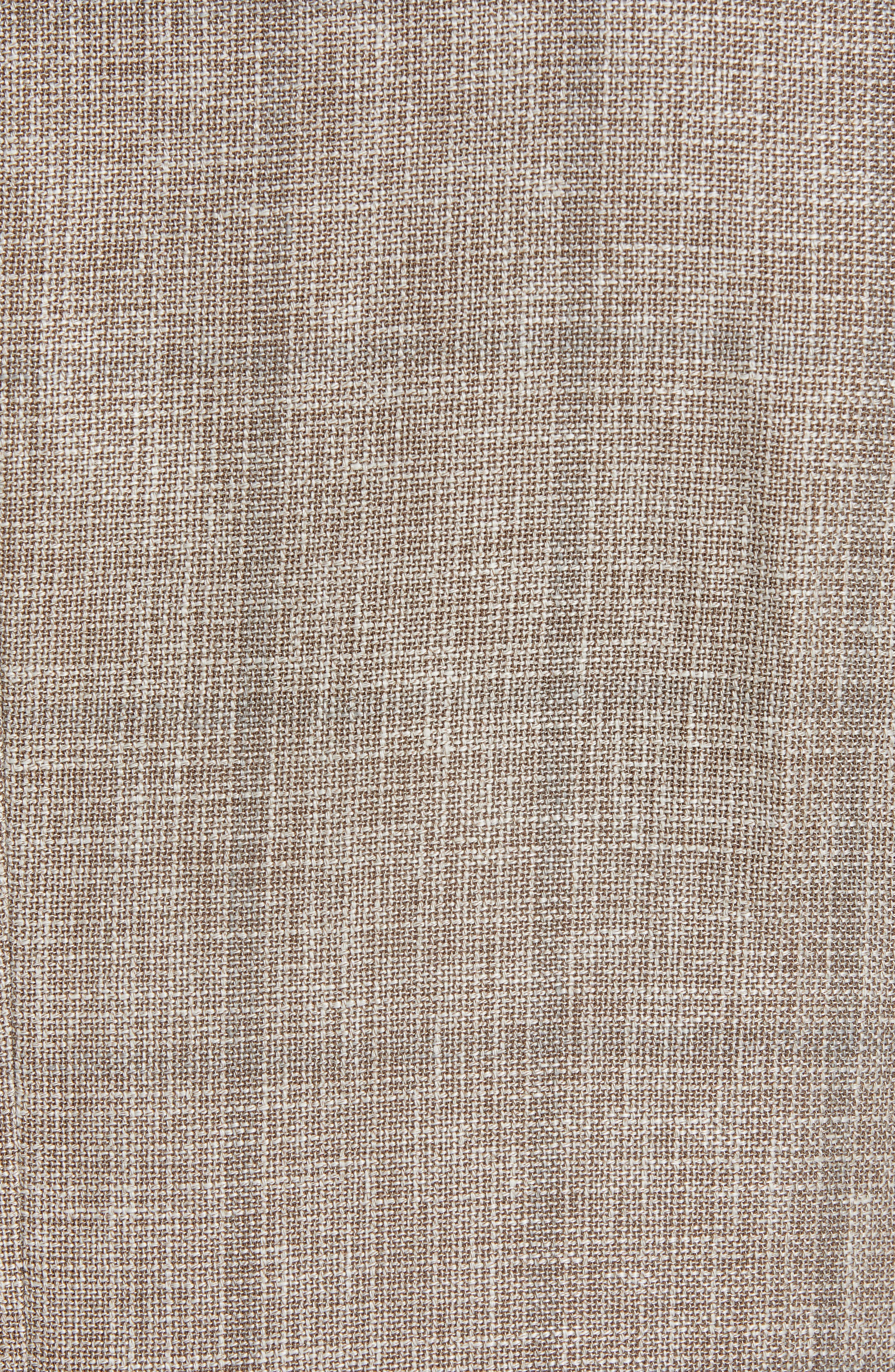ERMENEGILDO ZEGNA, Milano Classic Fit Windowpane Linen Blend Sport Coat, Alternate thumbnail 6, color, TAN
