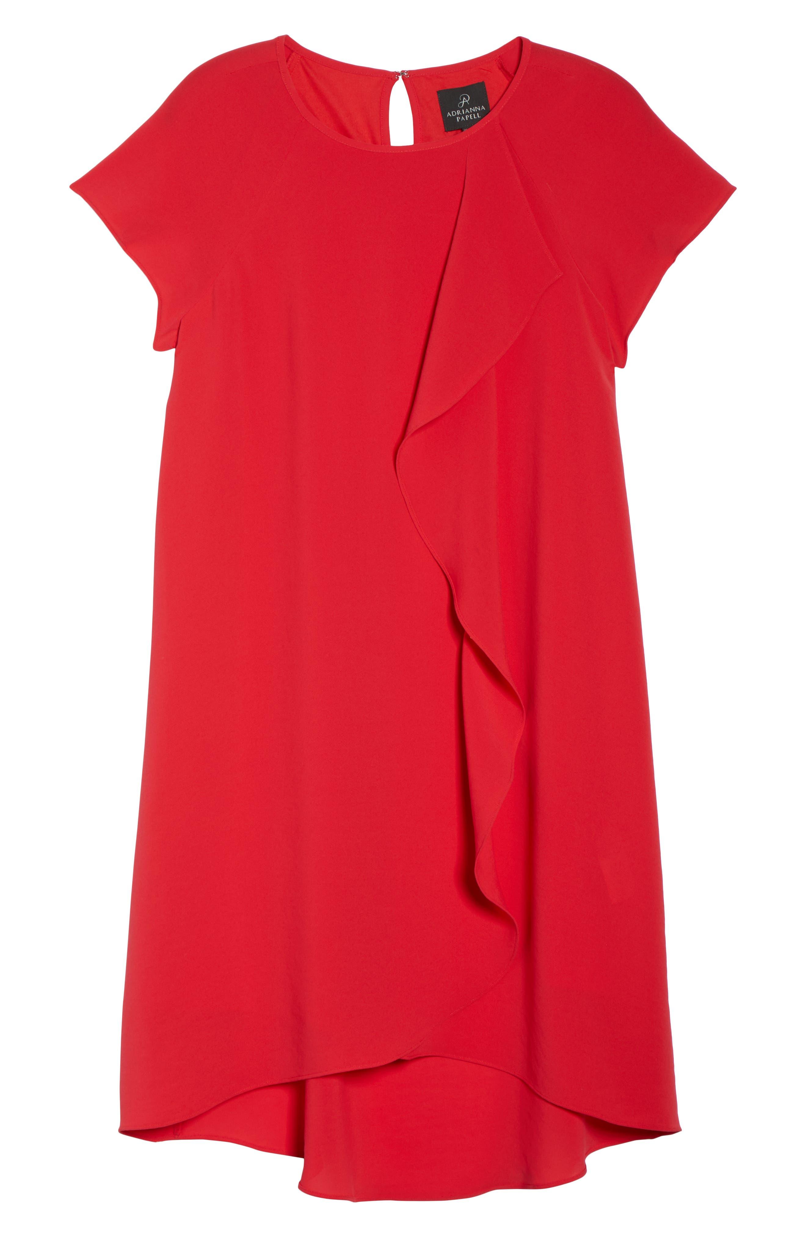ADRIANNA PAPELL, Crepe Shift Dress, Alternate thumbnail 7, color, 650