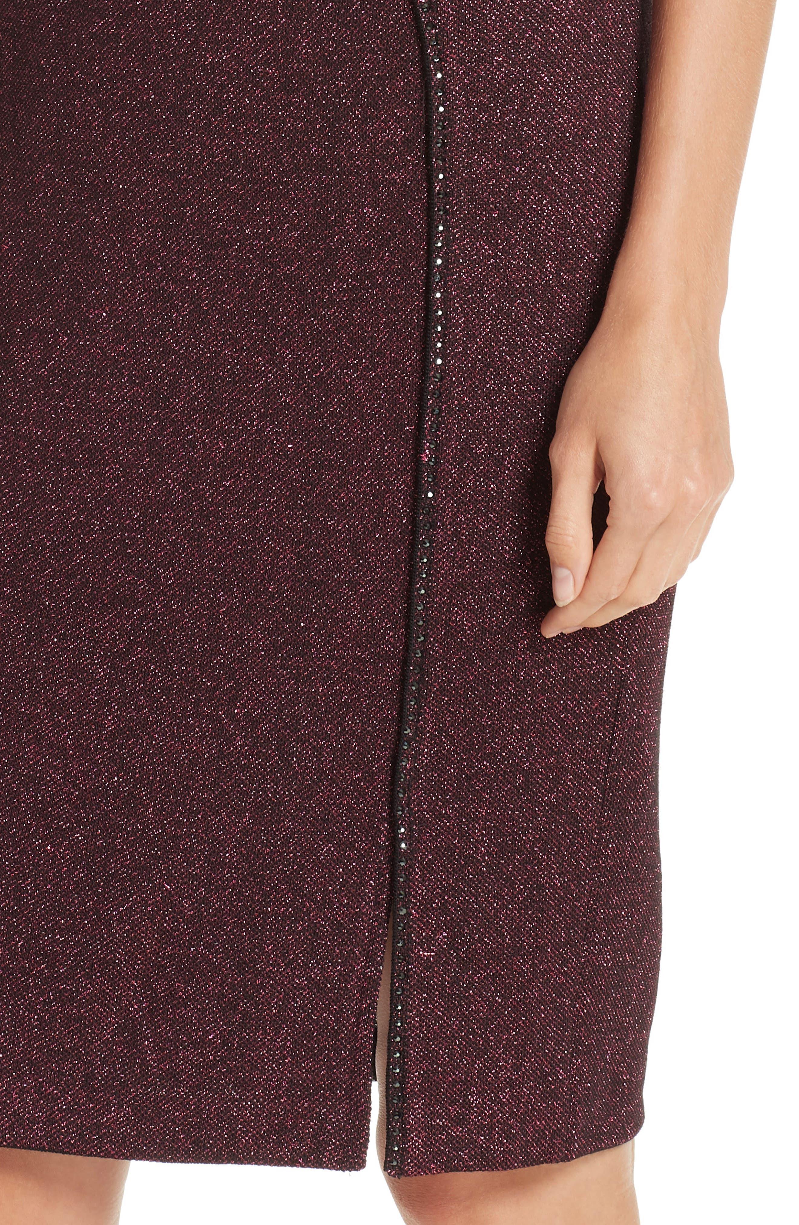 ST. JOHN COLLECTION, Mod Metallic Knit Sheath Dress, Alternate thumbnail 5, color, DARK PINK MULTI