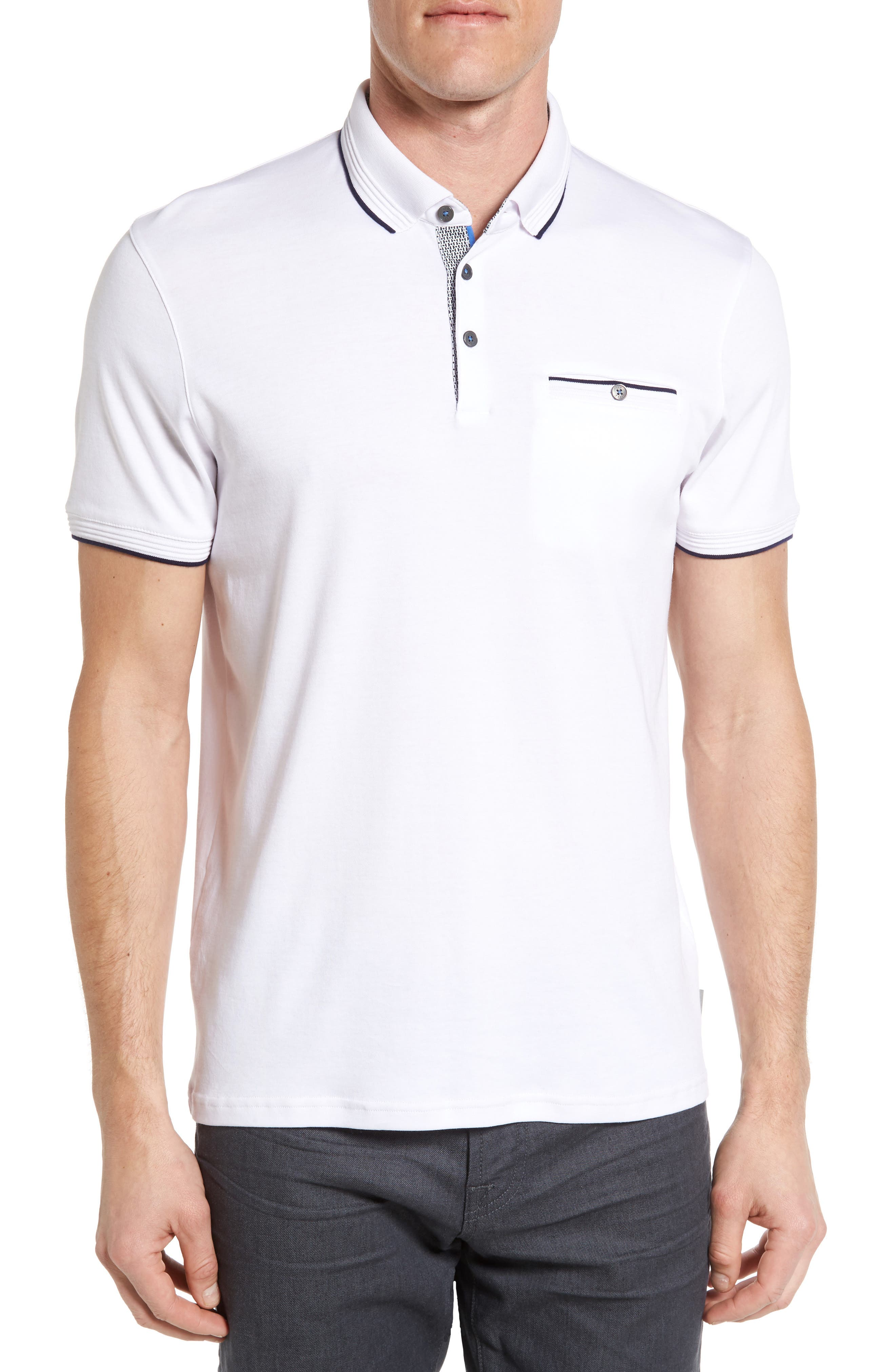TED BAKER LONDON, Derry Modern Slim Fit Polo, Main thumbnail 1, color, WHITE
