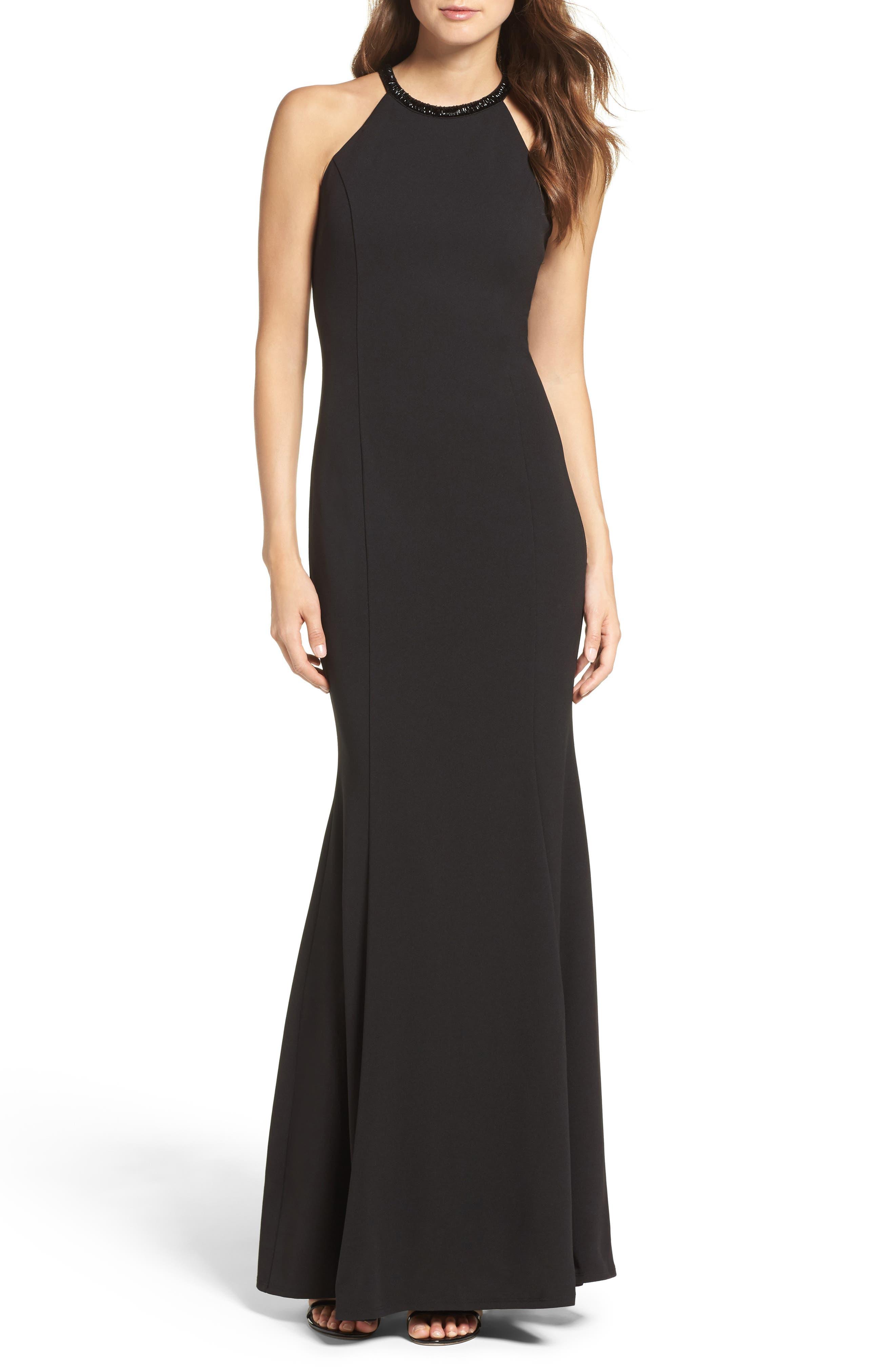 LULUS Bead Neck Mermaid Gown, Main, color, BLACK