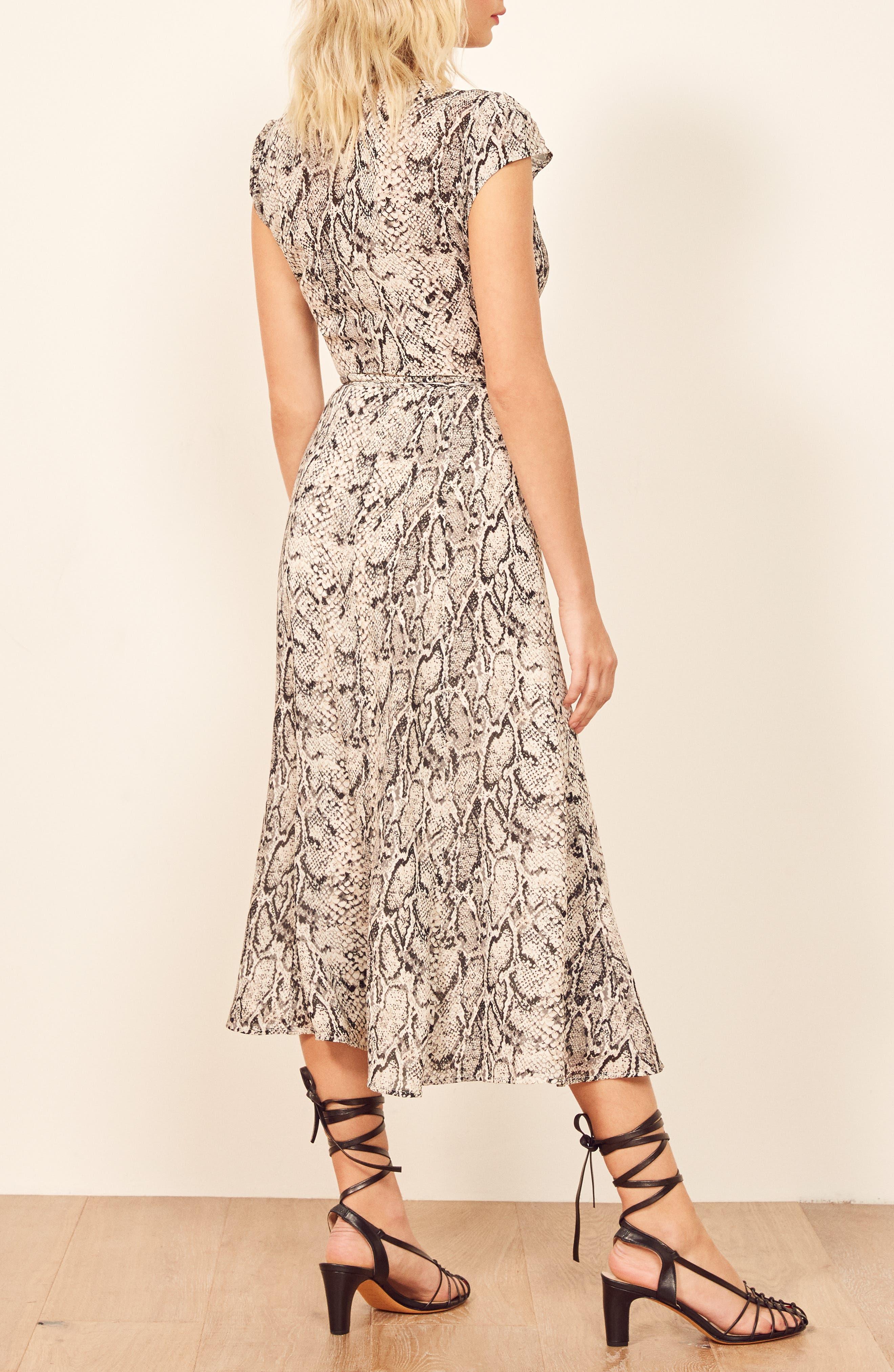 REFORMATION, Carina Midi Wrap Dress, Alternate thumbnail 4, color, RATTLESNAKE
