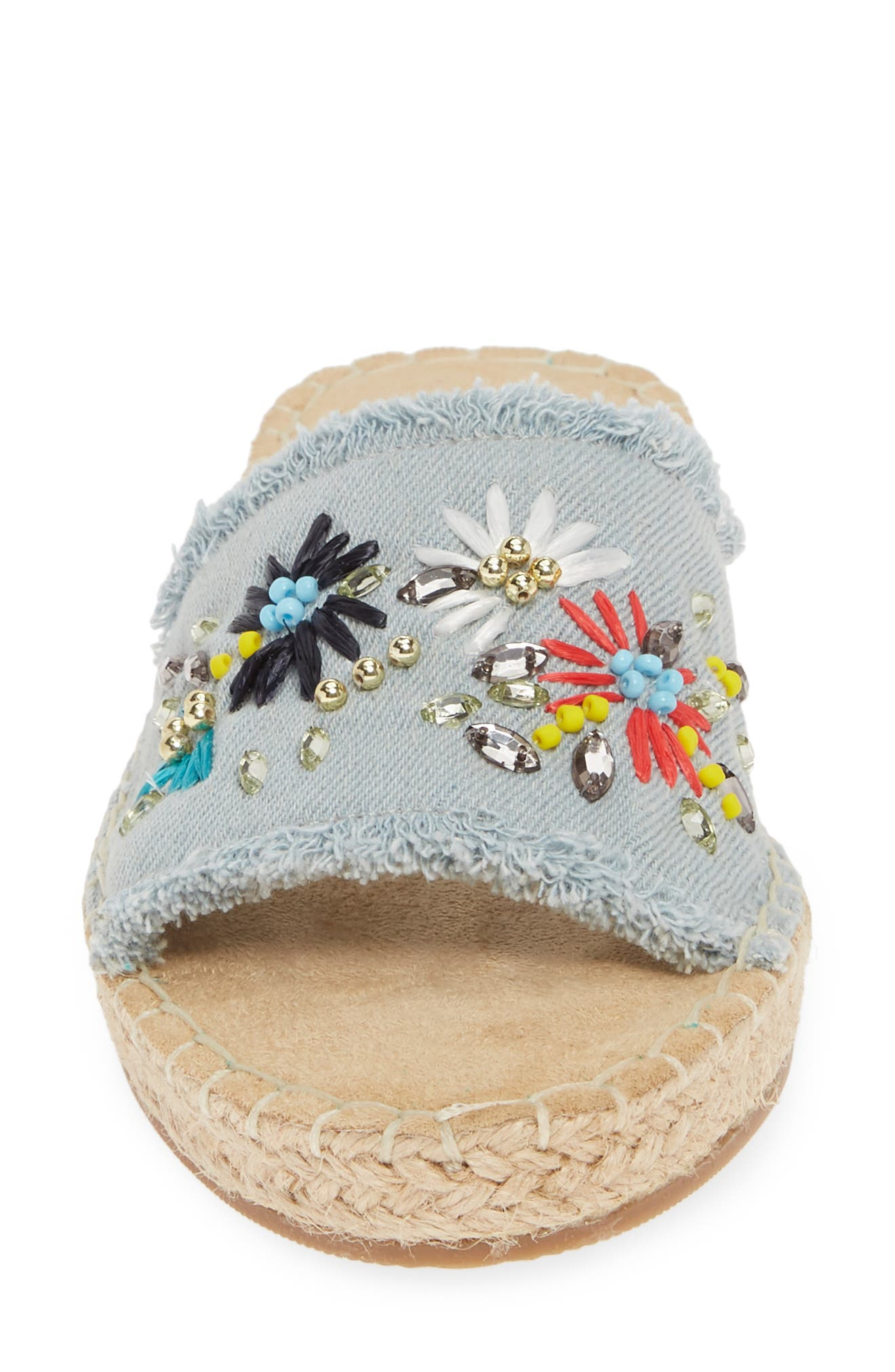 BELLA VITA, Cher II Slide Sandal, Alternate thumbnail 4, color, LIGHT DENIM FABRIC