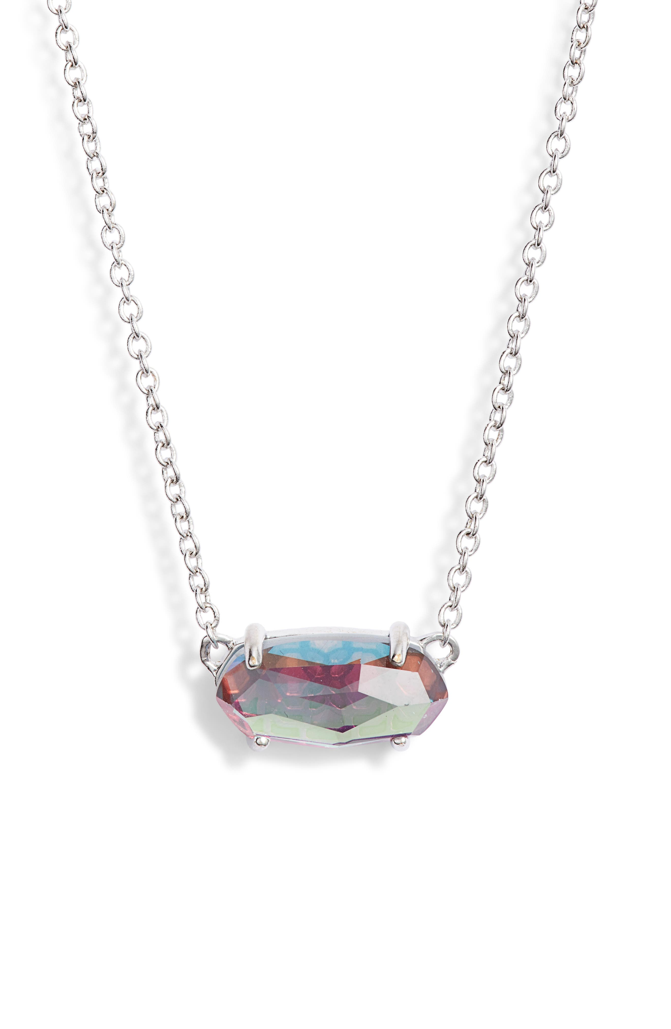 KENDRA SCOTT, Ever Pendant Necklace, Main thumbnail 1, color, GRAY DICHROIC GLASS/ SILVER