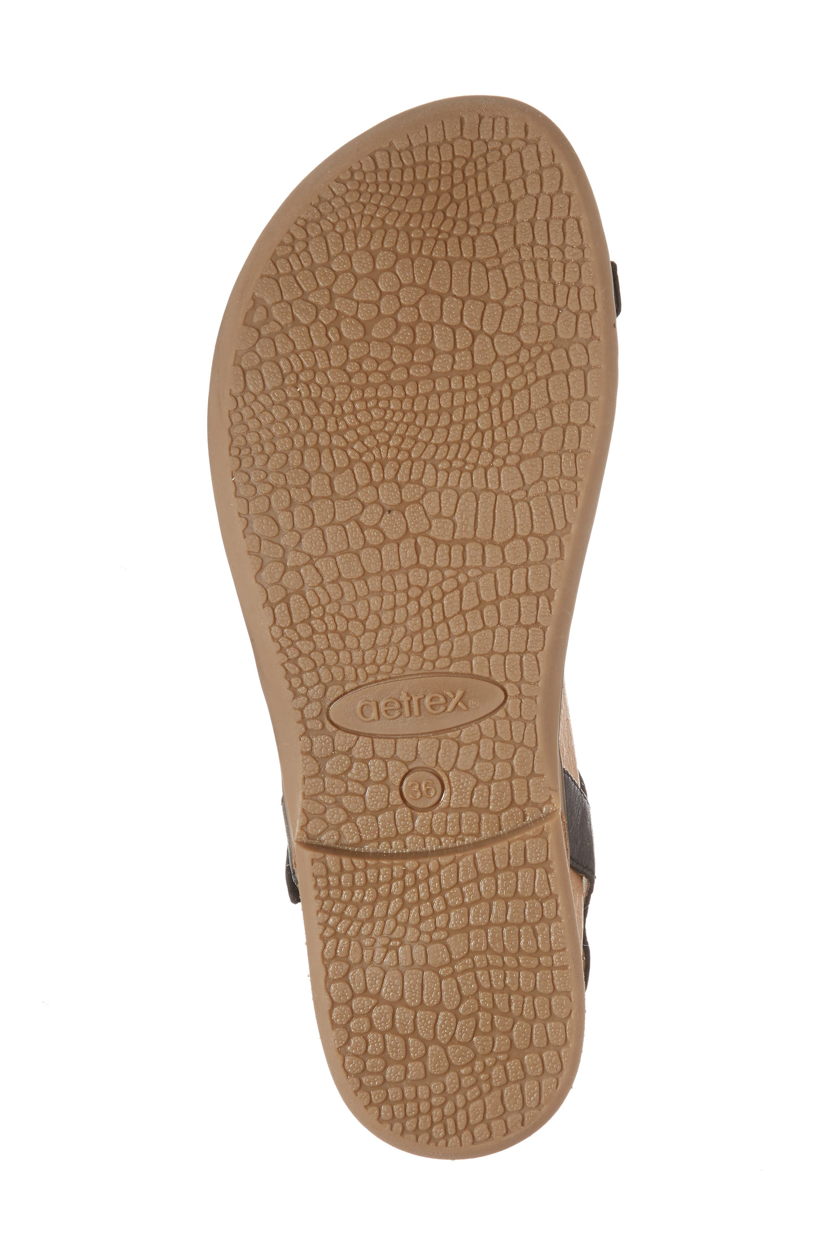 AETREX, Evie Braided Strap Sandal, Alternate thumbnail 6, color, BLACK LEATHER