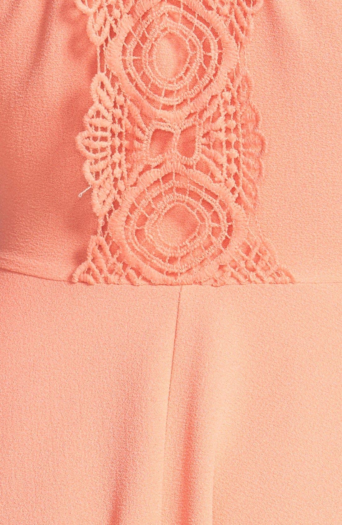 DEE ELLY, dee elle Crochet Back Skater Dress, Alternate thumbnail 3, color, 650