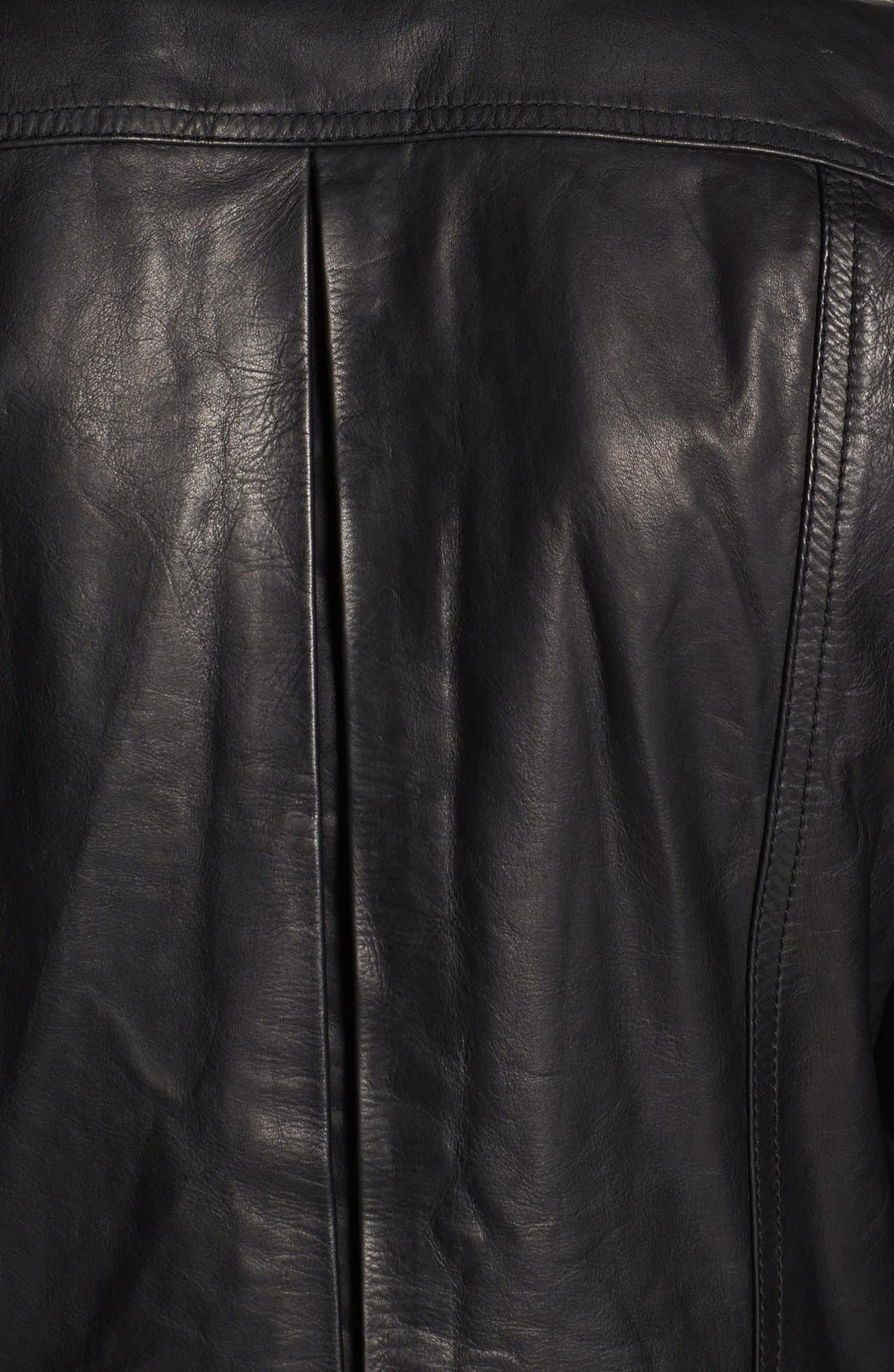 PIERRE BALMAIN, Leather Moto Jacket, Alternate thumbnail 4, color, 001