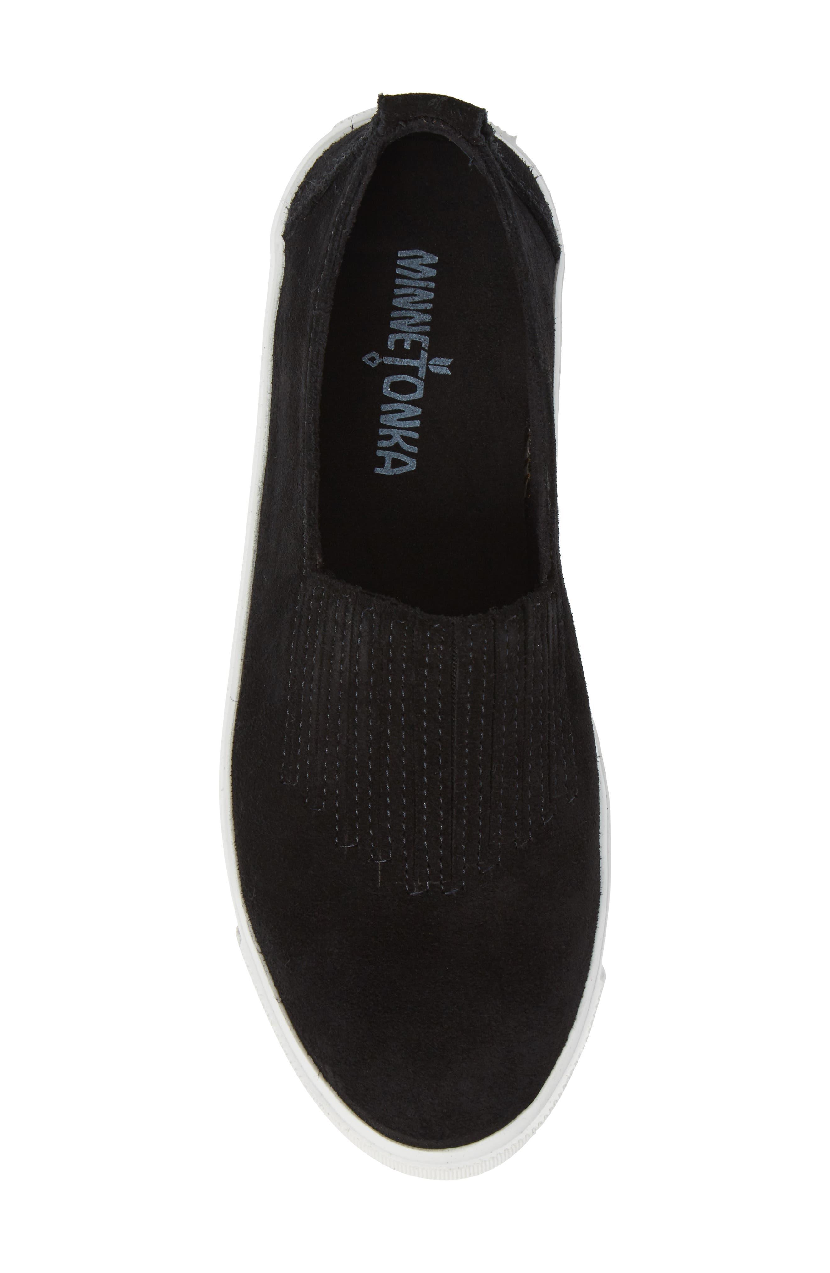 MINNETONKA, Gabi Slip-On Sneaker, Alternate thumbnail 5, color, BLACK