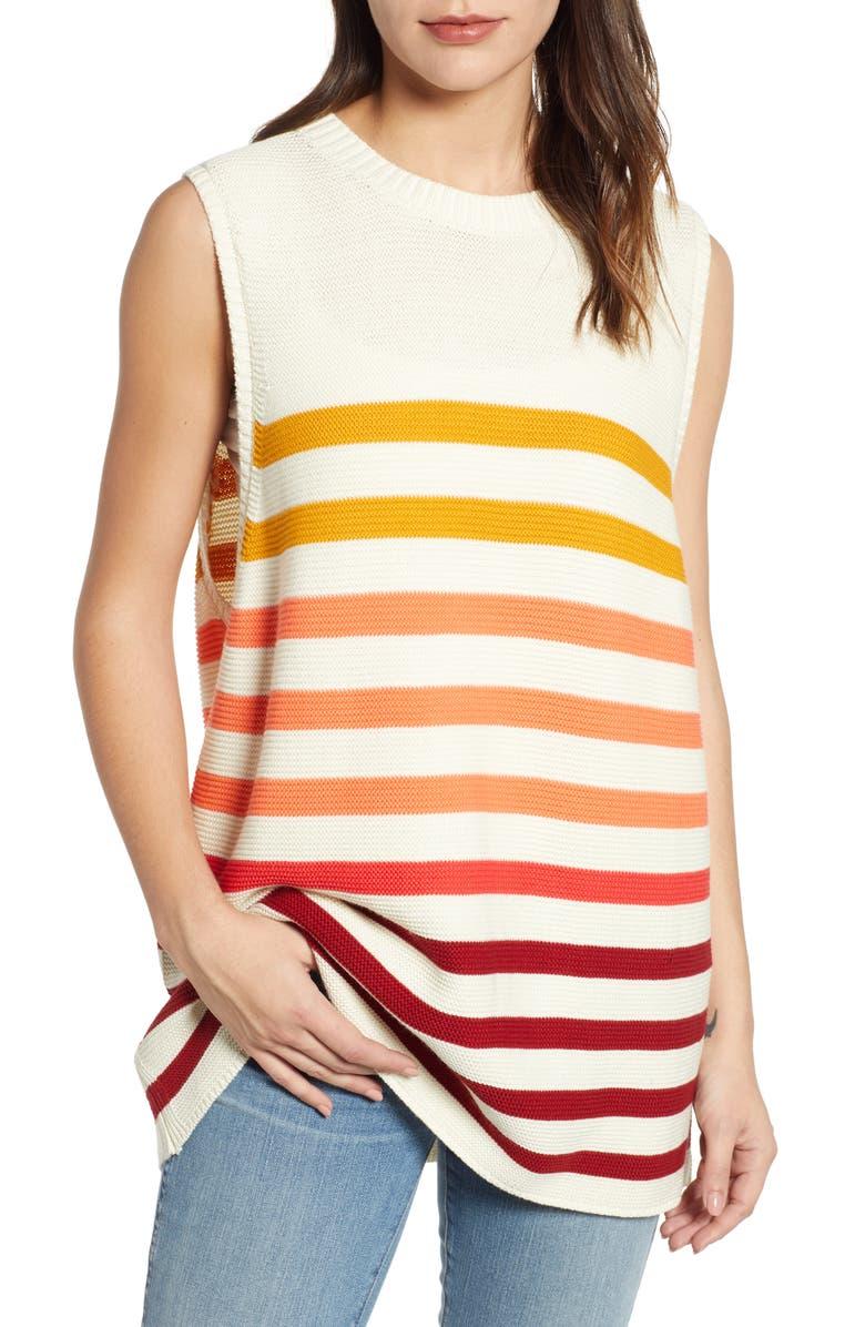 Lucky Brand Linens OMBRE STRIPE LINEN BLEND SWEATER SHELL