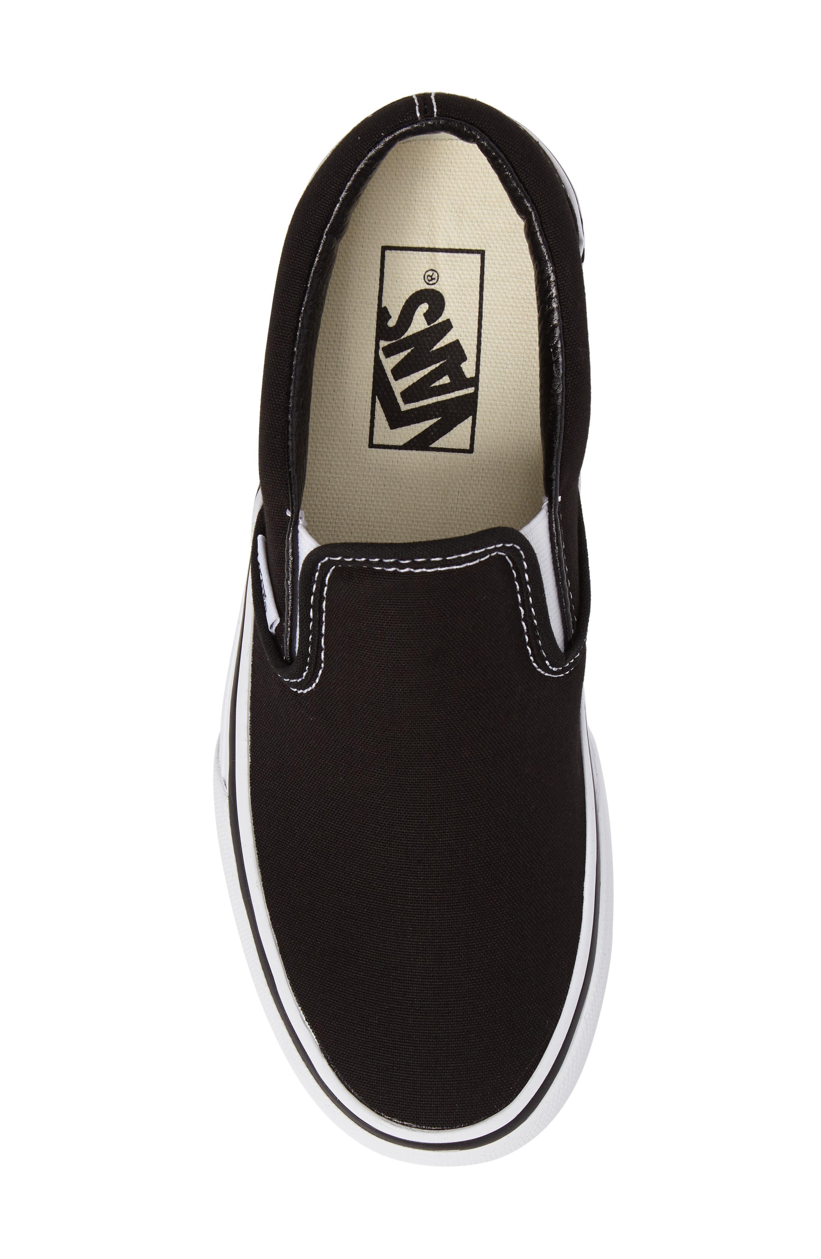 VANS, Platform Slip-On Sneaker, Alternate thumbnail 5, color, BLACK/ WHITE