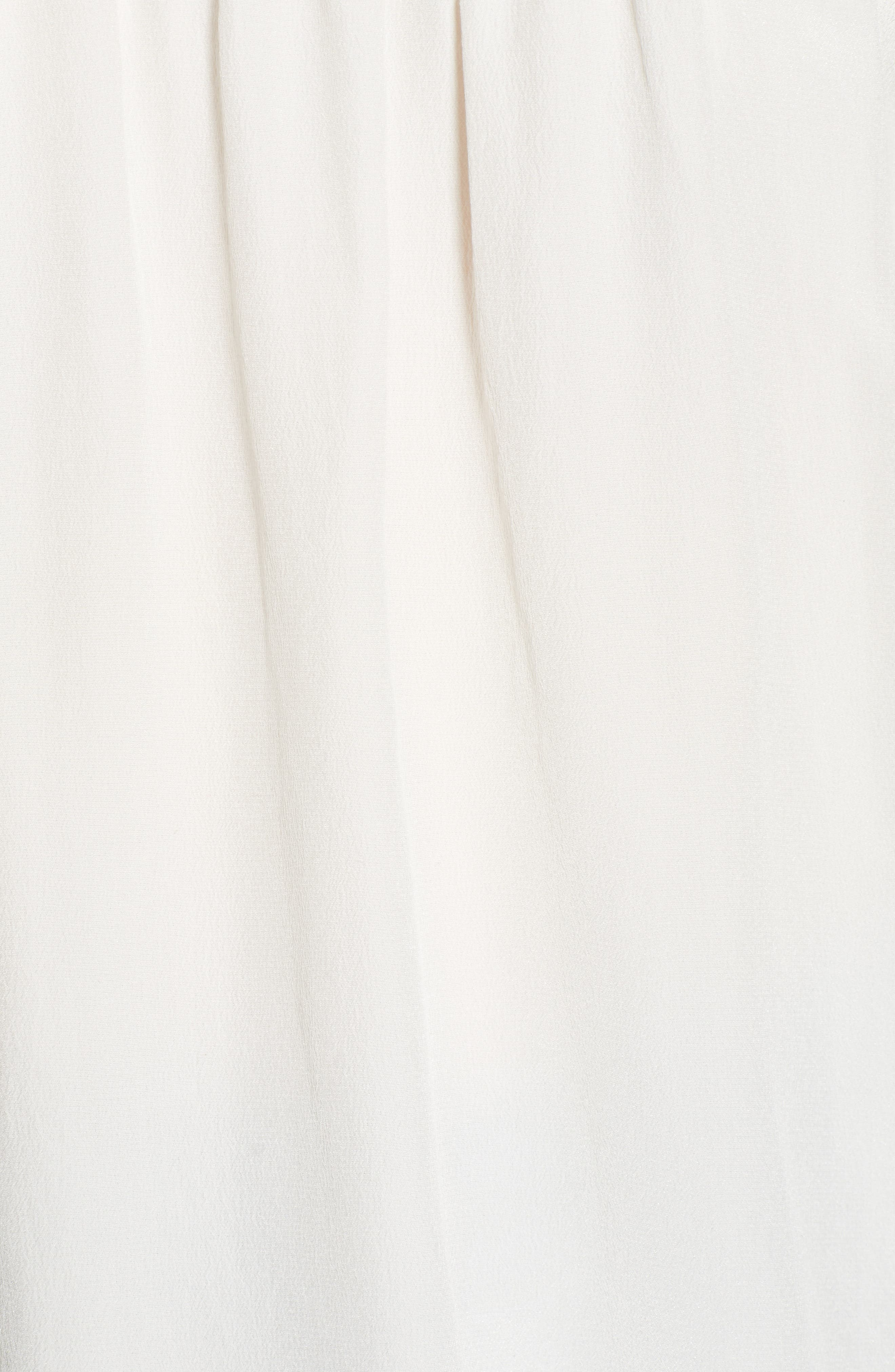7 FOR ALL MANKIND<SUP>®</SUP>, Off the Shoulder Smocked Silk Top, Alternate thumbnail 5, color, NATURAL WHITE