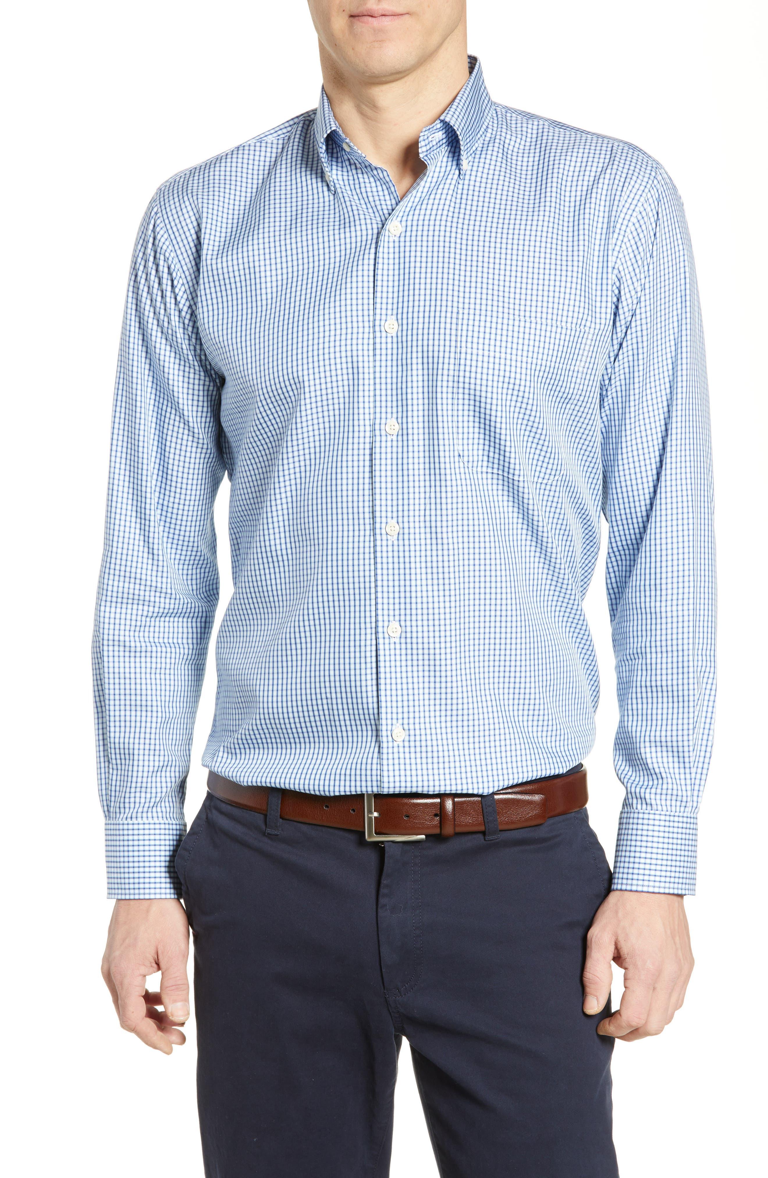 PETER MILLAR Mount Maker Microcheck Sport Shirt, Main, color, SAIL