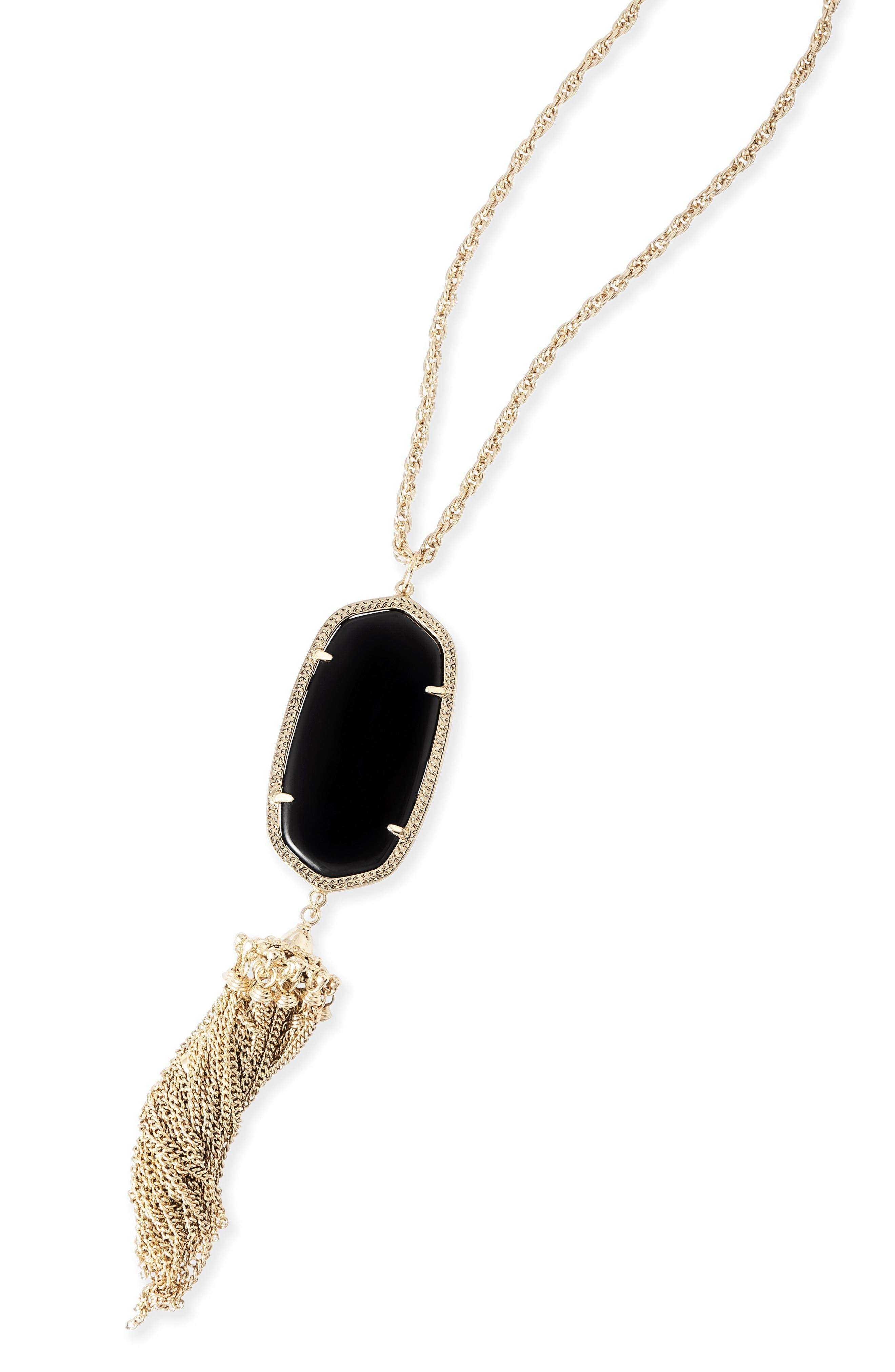KENDRA SCOTT, Rayne Stone Tassel Pendant Necklace, Alternate thumbnail 6, color, 001