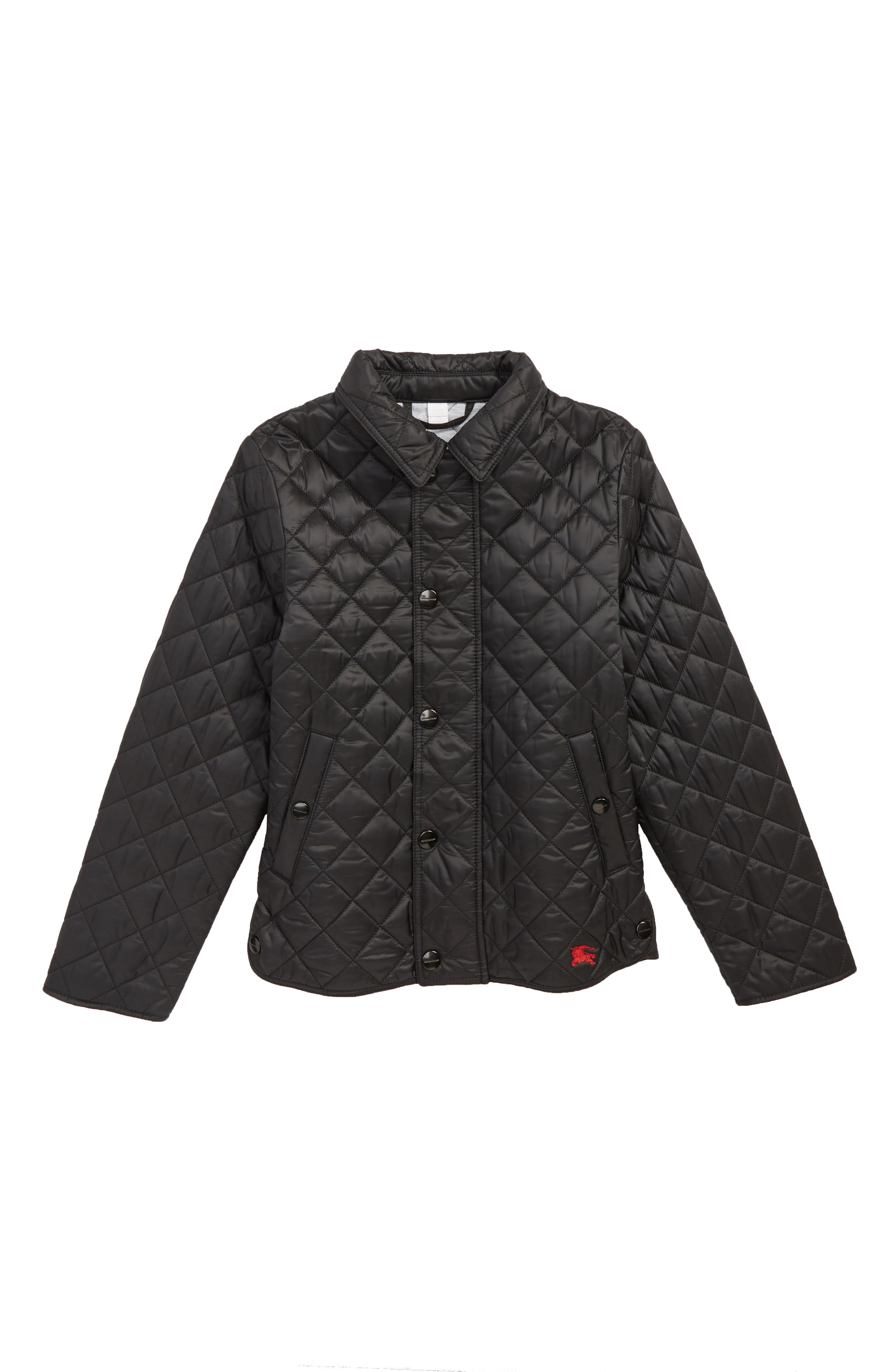 BURBERRY Lyle Diamond Quilted Jacket, Main, color, BLACK