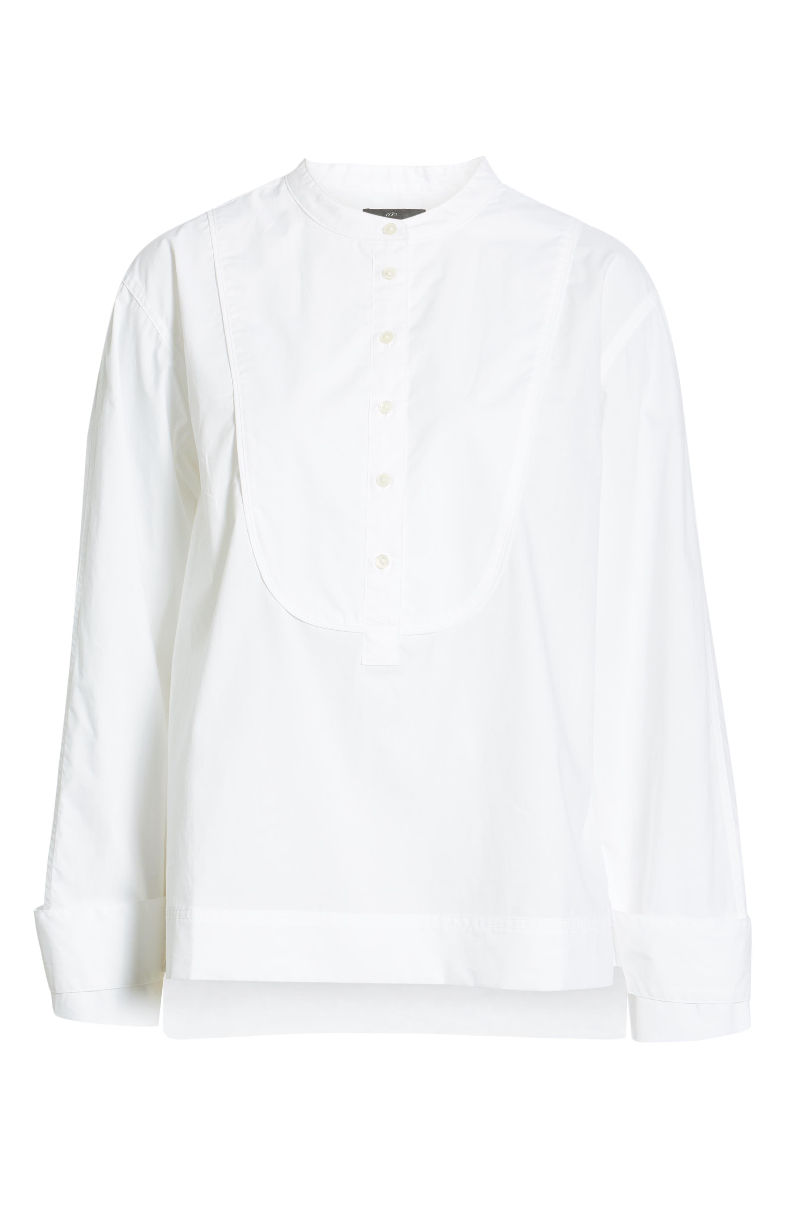 J.CREW, Cotton Tuxedo Popover Top, Alternate thumbnail 6, color, 100