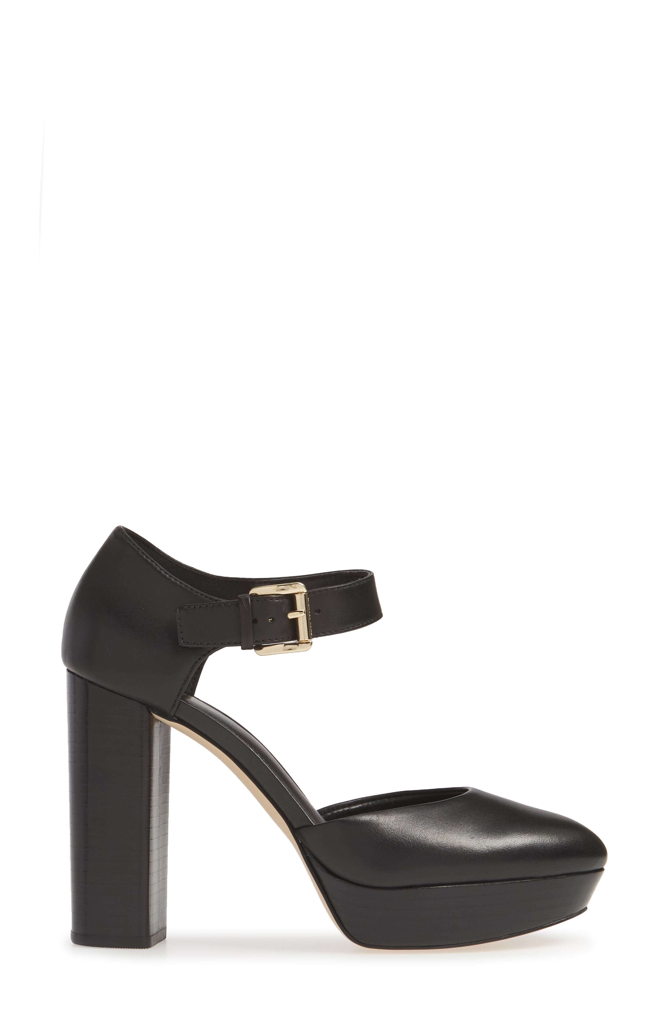 MICHAEL MICHAEL KORS, Platform Pump, Alternate thumbnail 3, color, BLACK VACHETTA LEATHER
