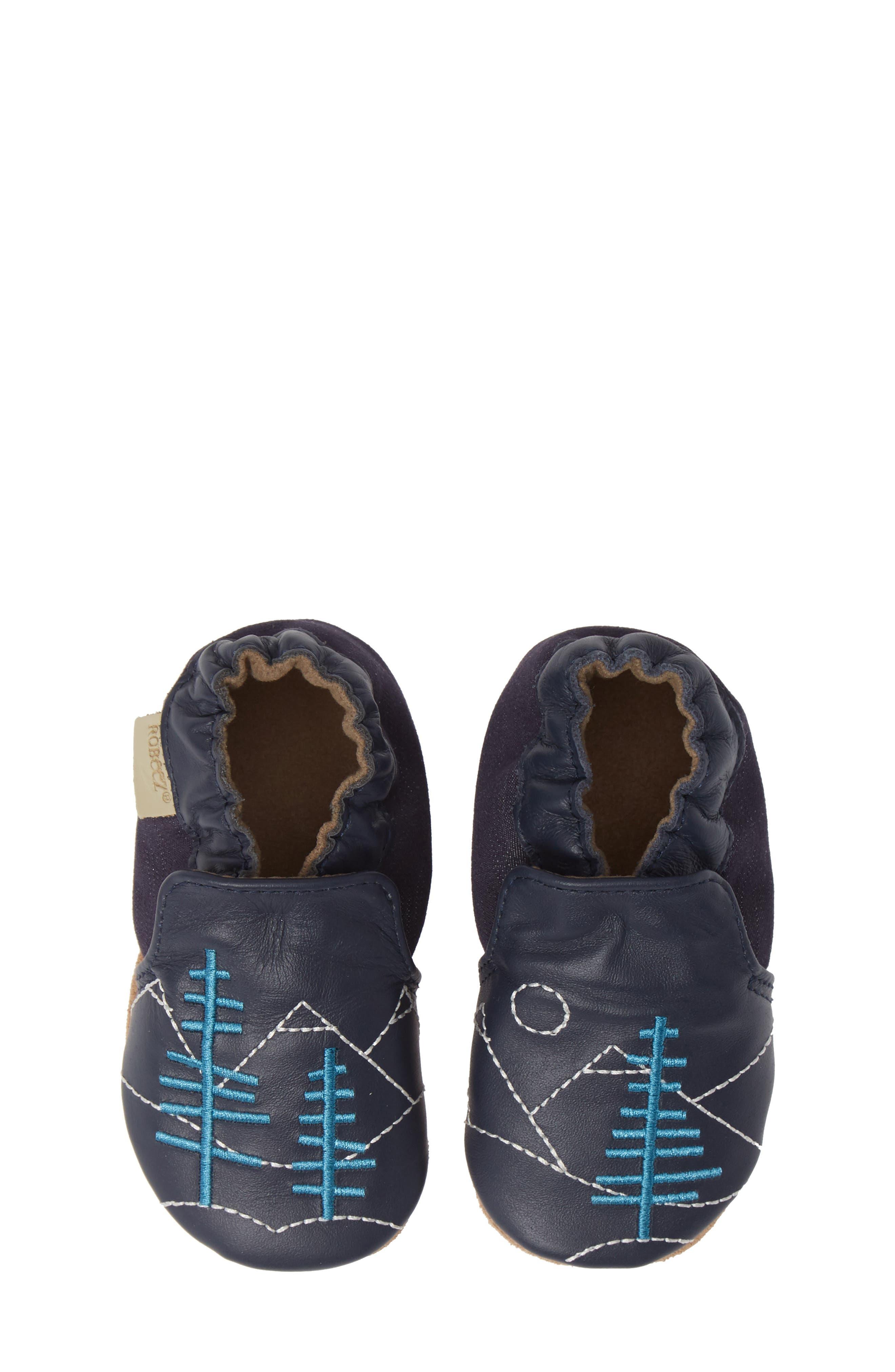 ROBEEZ<SUP>®</SUP> Mountain Explorer Moccasin Crib Shoe, Main, color, NAVY