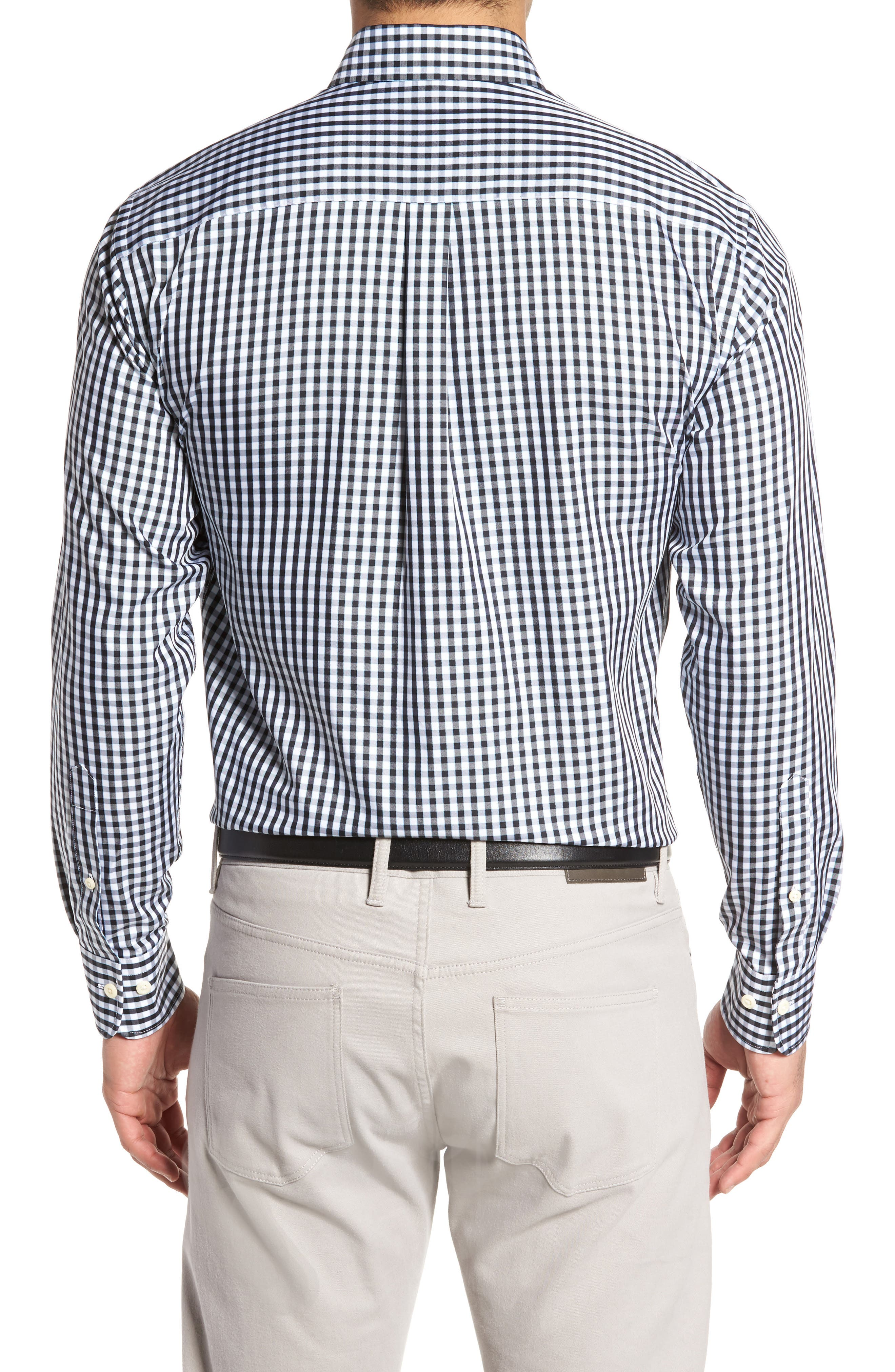 PETER MILLAR, Black Sand Regular Fit Gingham Check Sport Shirt, Alternate thumbnail 2, color, BLACK