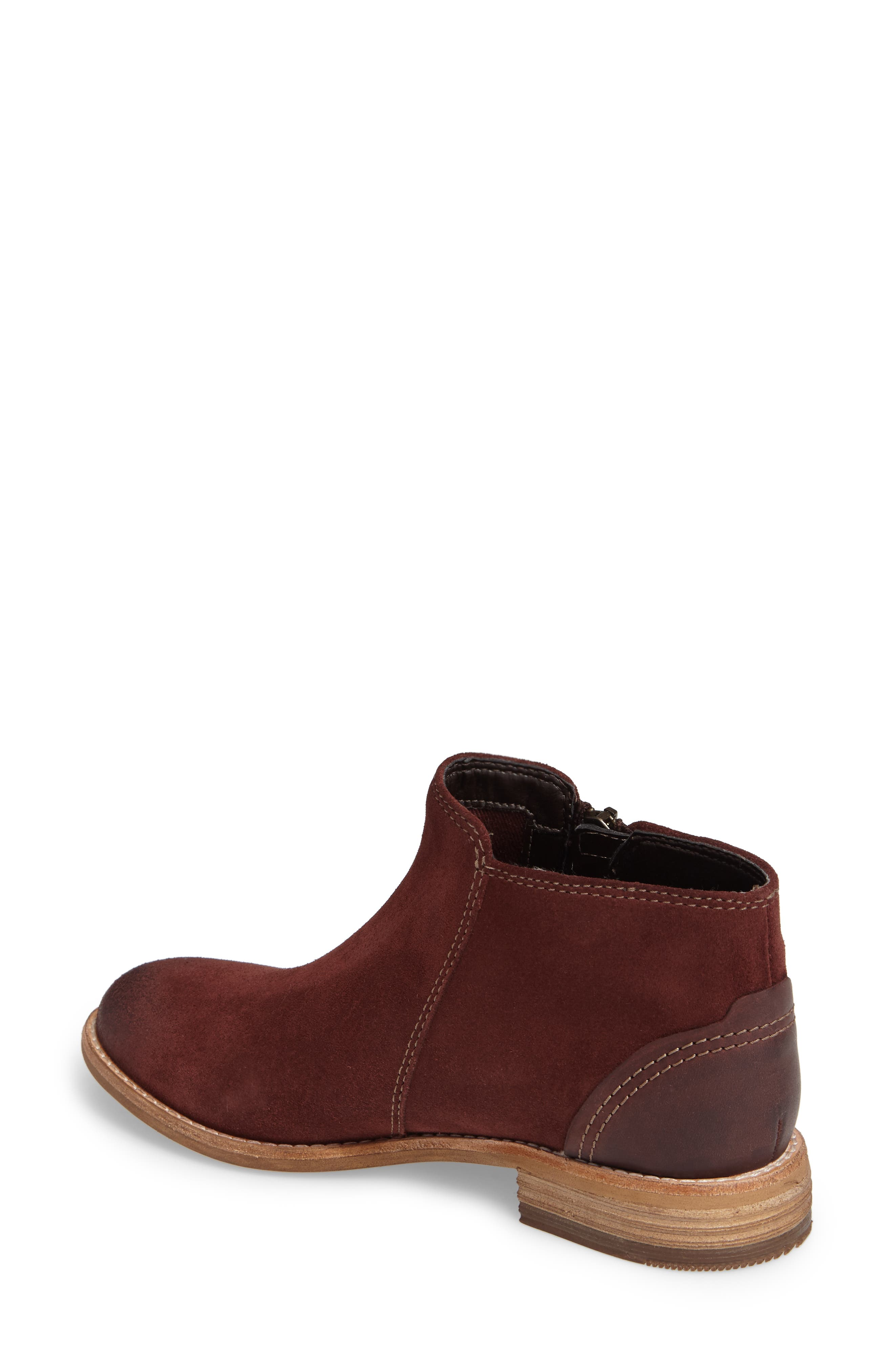 CLARKS<SUP>®</SUP>, Maypearl Juno Ankle Boot, Alternate thumbnail 2, color, MAHOGANY SUEDE