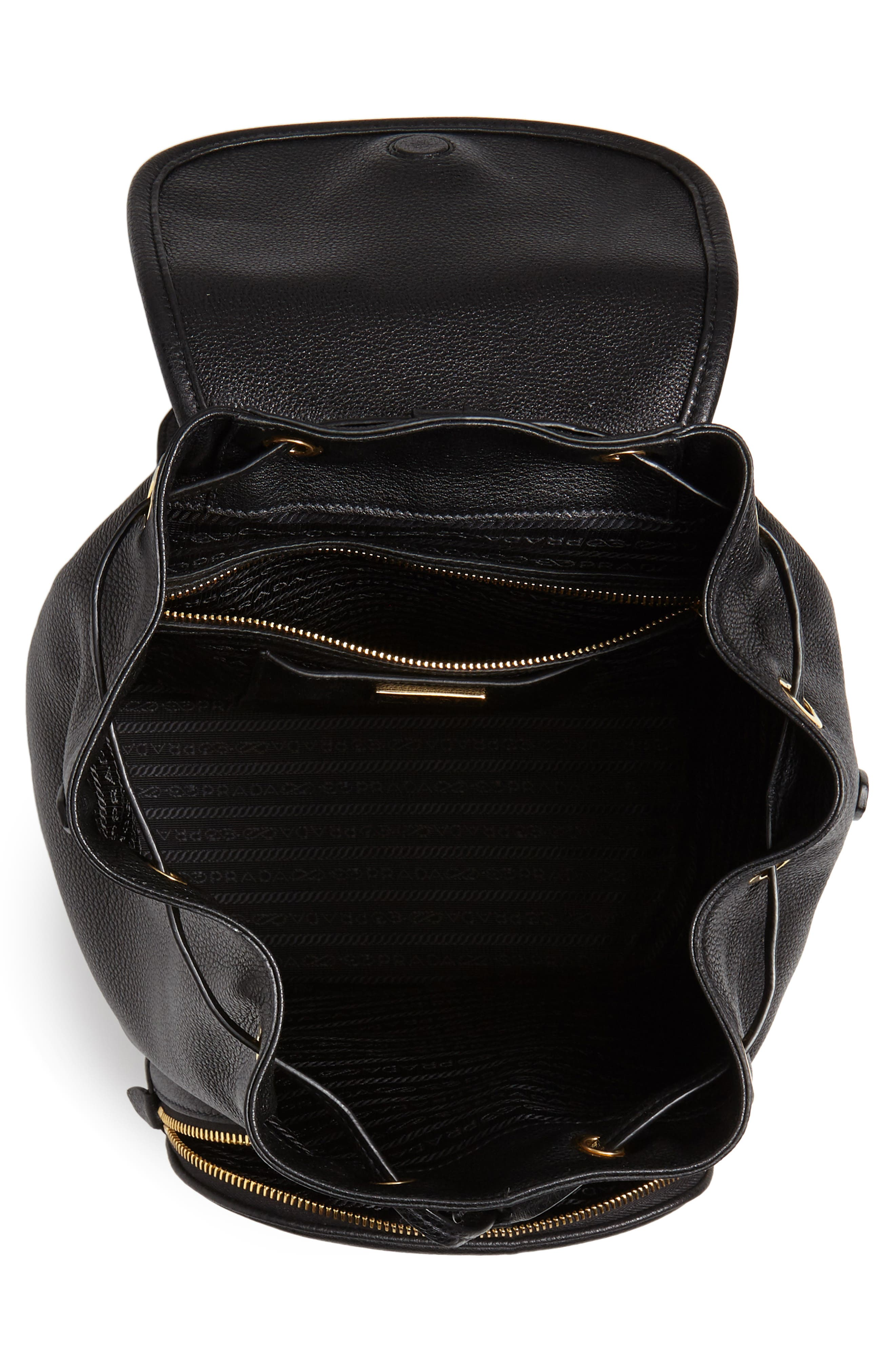 PRADA, Vitello Daino Pebbled Leather Backpack, Alternate thumbnail 5, color, 001