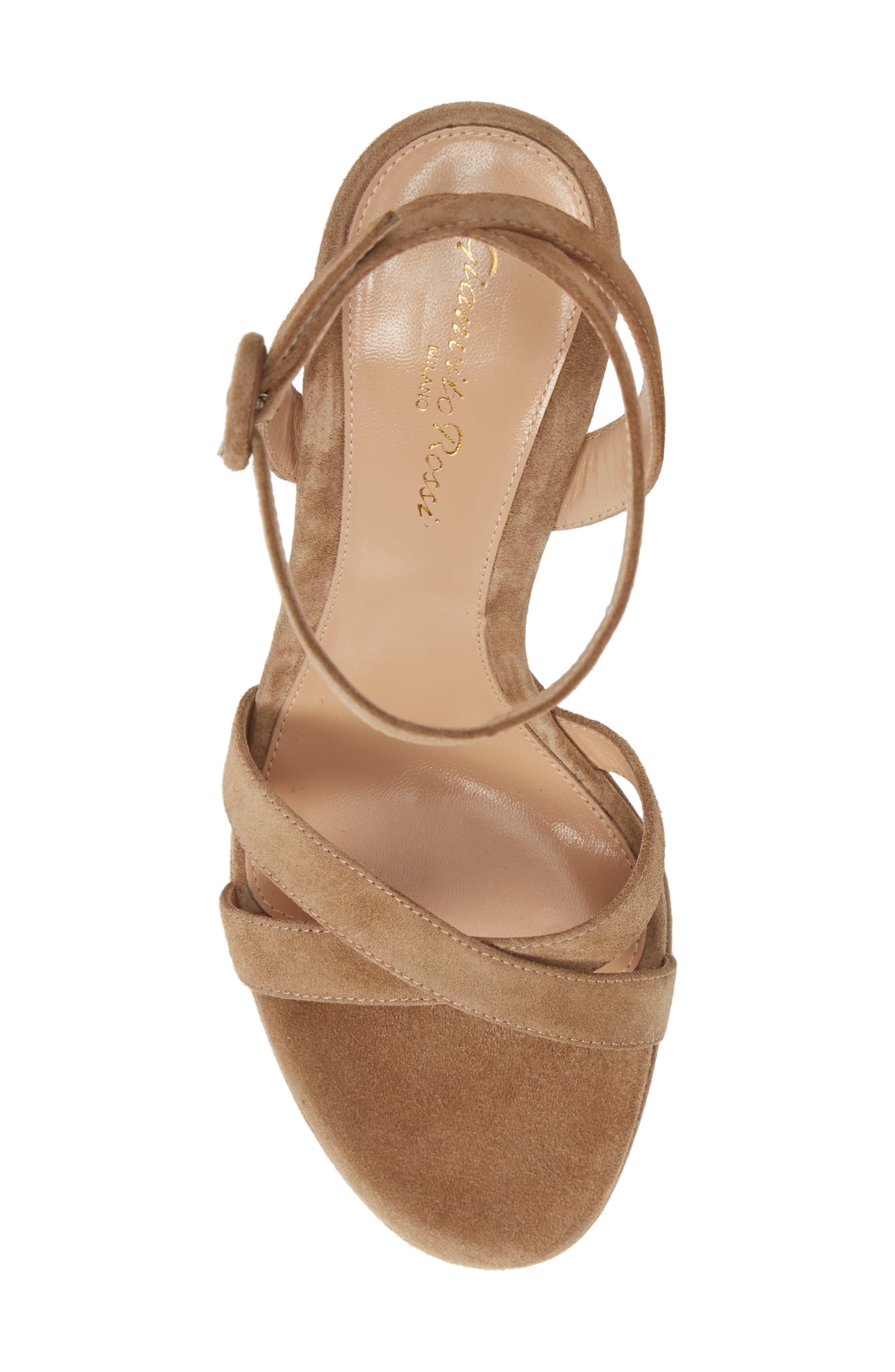 GIANVITO ROSSI, Ankle Strap Platform Sandal, Alternate thumbnail 5, color, CAMEL SUEDE